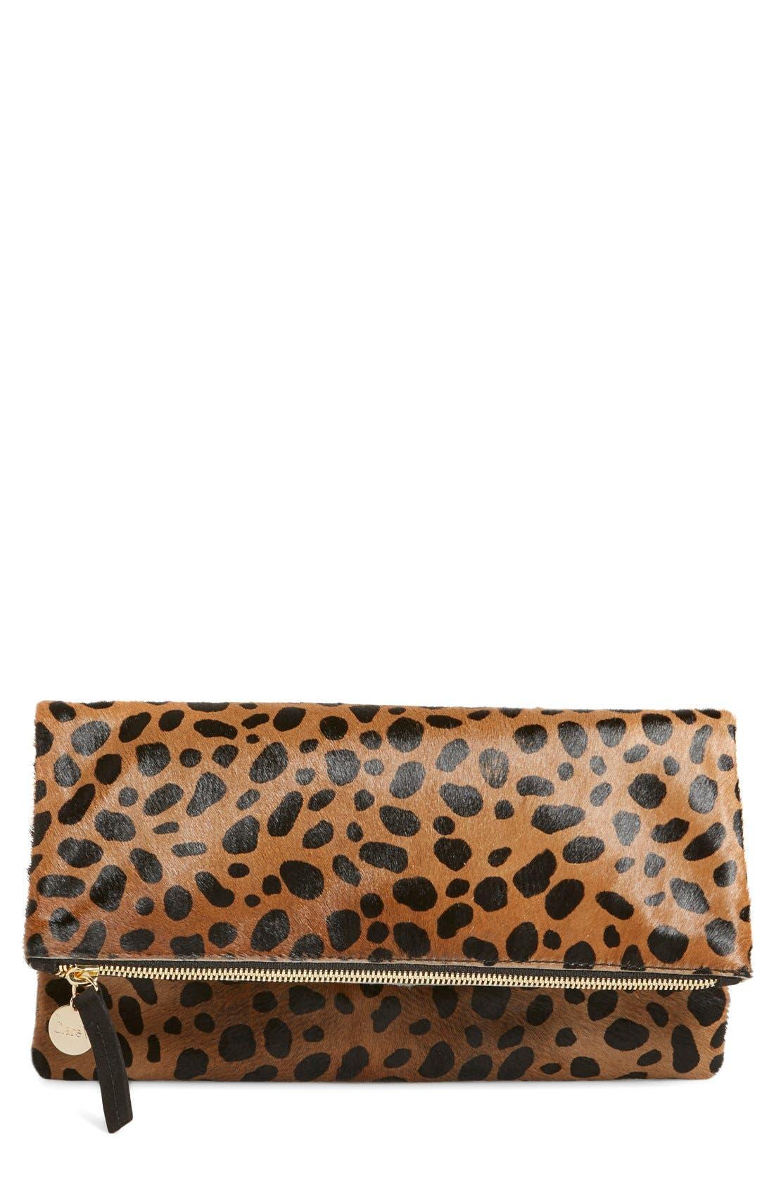 CLARE V. Genuine Calf Hair Leopard Print Foldover