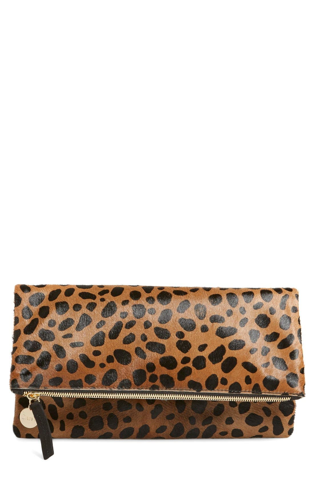 Main Image - Clare V. Genuine Calf Hair Leopard Print Foldover Clutch