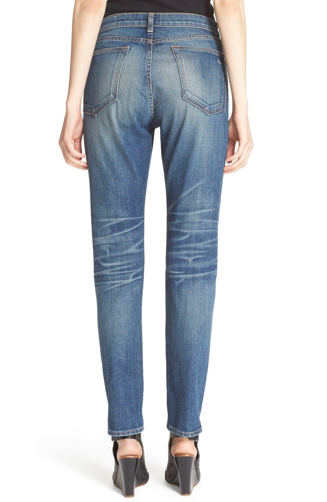Alternate Image 2  - rag & bone/JEAN 'Dre' High Rise Boyfriend Skinny Jeans (Exeter)