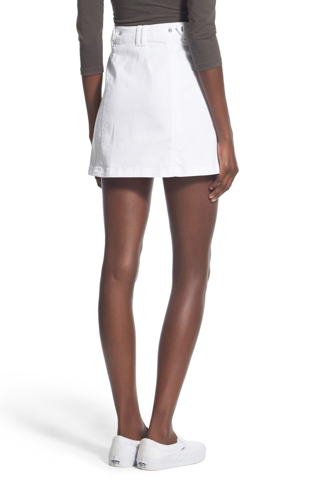 Alternate Image 2  - Jolt Button Front Denim Miniskirt