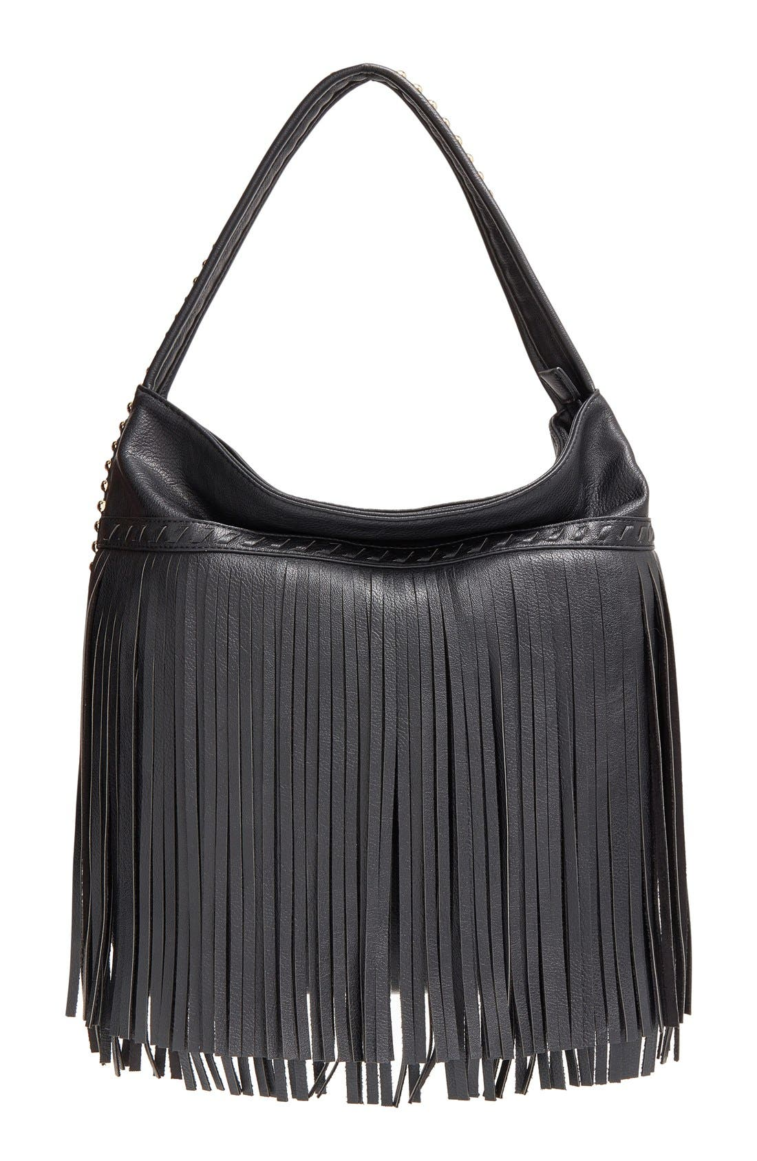 Main Image - Big Buddha 'JGiada' Fringe Faux Leather Ball Hobo