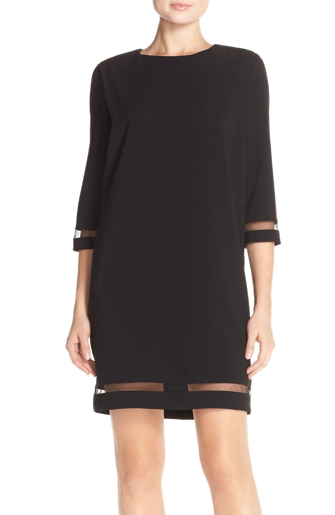 Alternate Image 1 Selected - Tahari Crepe Shift Dress with Mesh Trim (Regular & Petite)