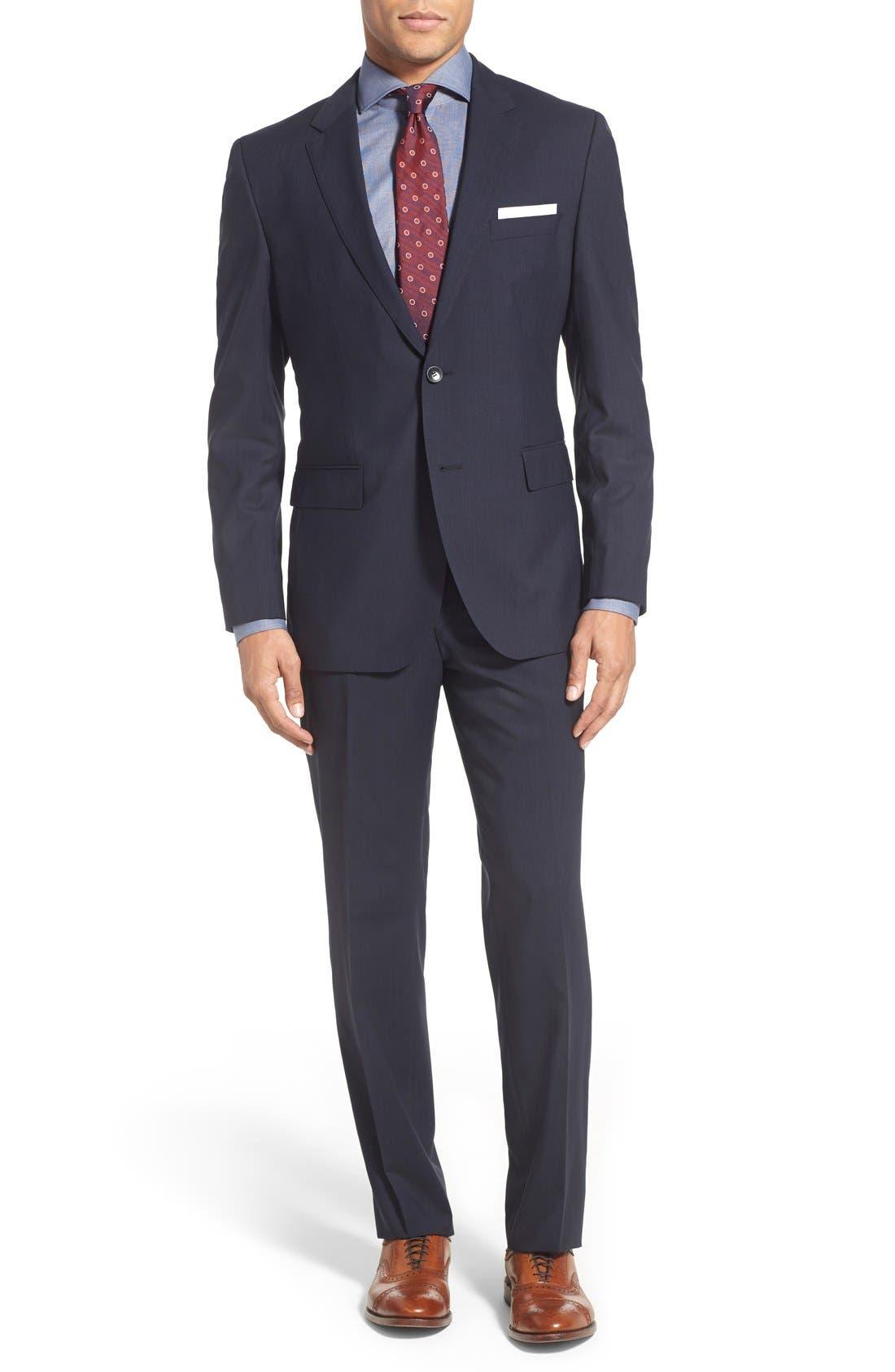 Main Image - BOSS 'James/Sharp' Trim Fit Stripe Wool Suit