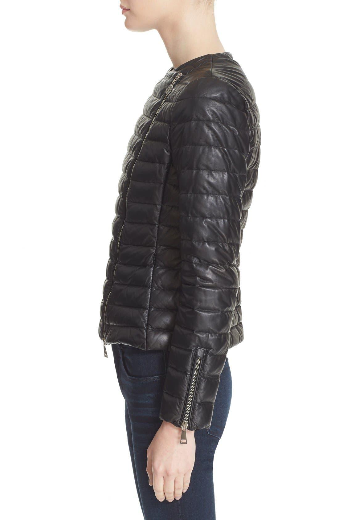 Alternate Image 5  - Moncler 'Palomete' Lambskin Leather Down Moto Jacket