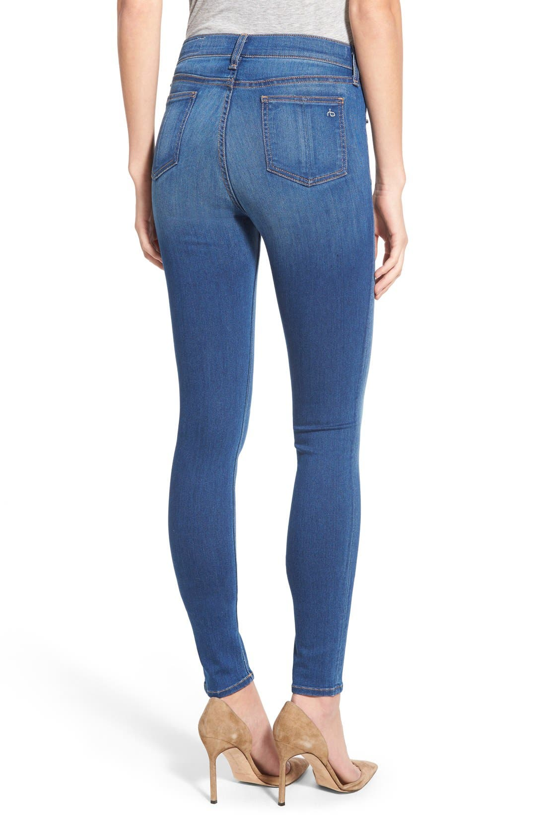 Alternate Image 2  - rag & bone/JEAN High Rise Skinny Jeans (Houston)