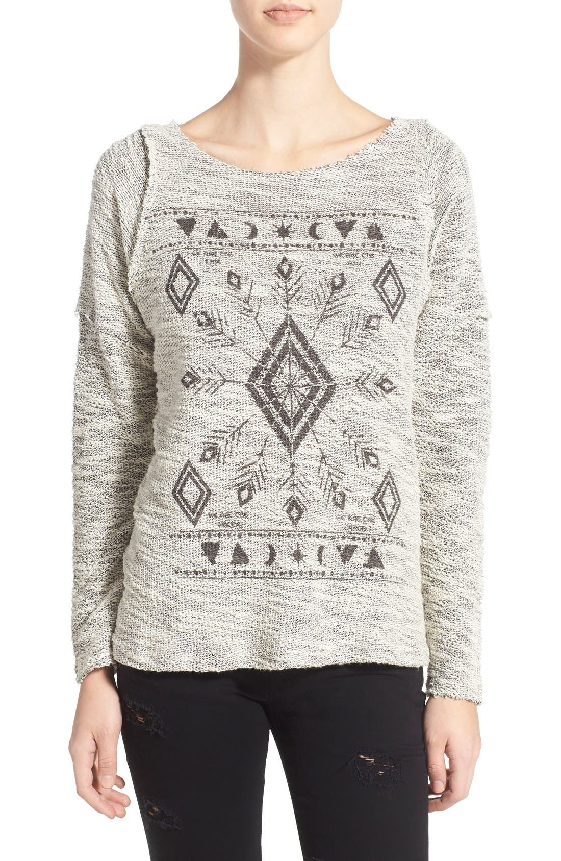 Alternate Image 1 Selected - Project Social T 'Elements' Graphic Bouclé Pullover