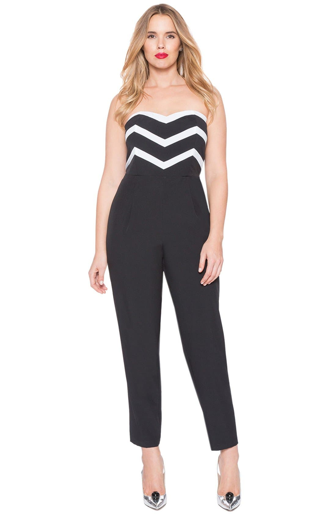 Alternate Image 3  - ELOQUII Strapless Jumpsuit with Detachable Skirt (Plus Size)
