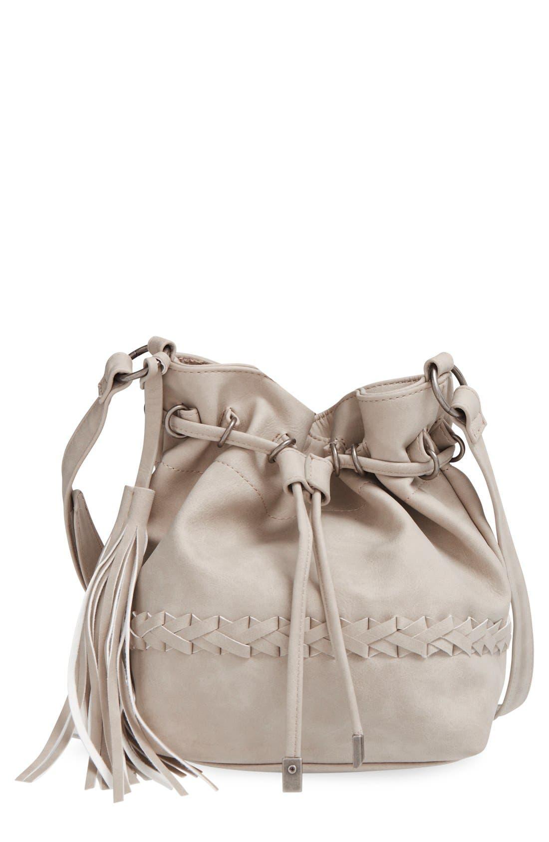 Alternate Image 1 Selected - Dolce Girl Woven Detail Bucket Bag