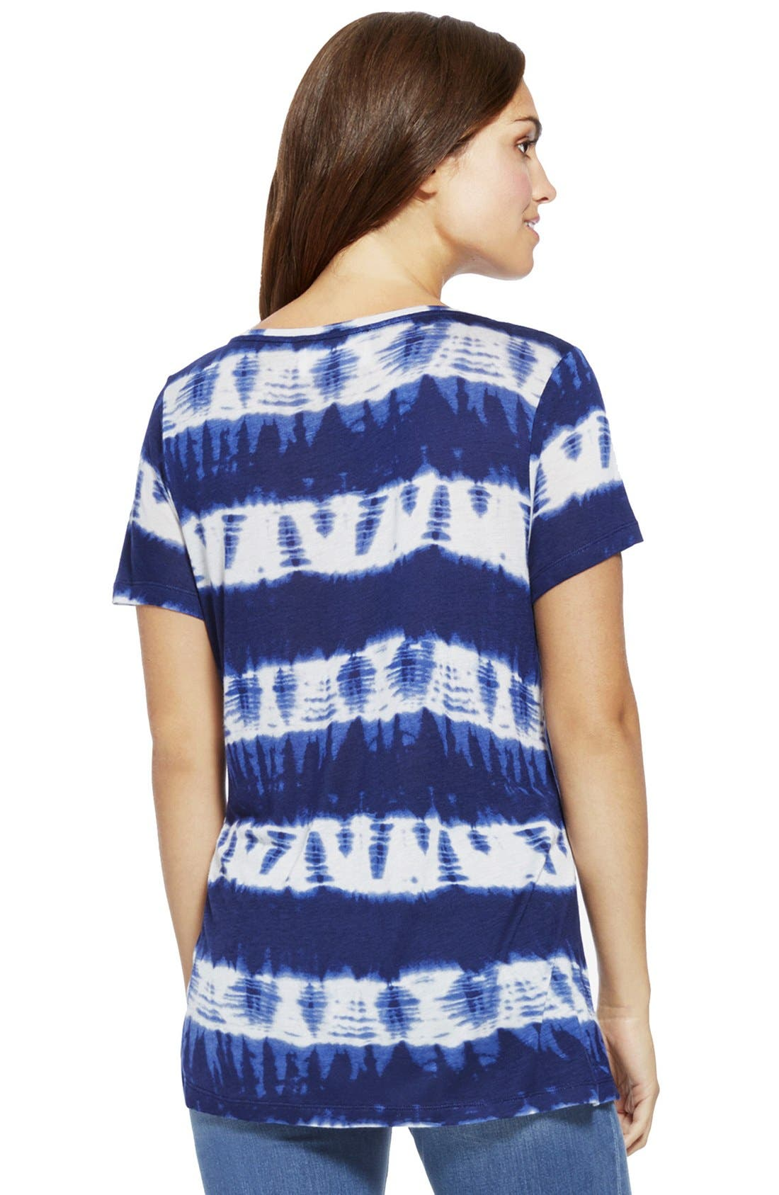 Alternate Image 2  - Two by Vince Camuto Tie Dye Stripe Ballet Neck Tee