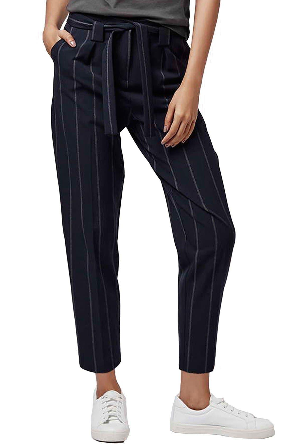 Alternate Image 1 Selected - Topshop Belted Pinstripe Pants (Regular & Petite)