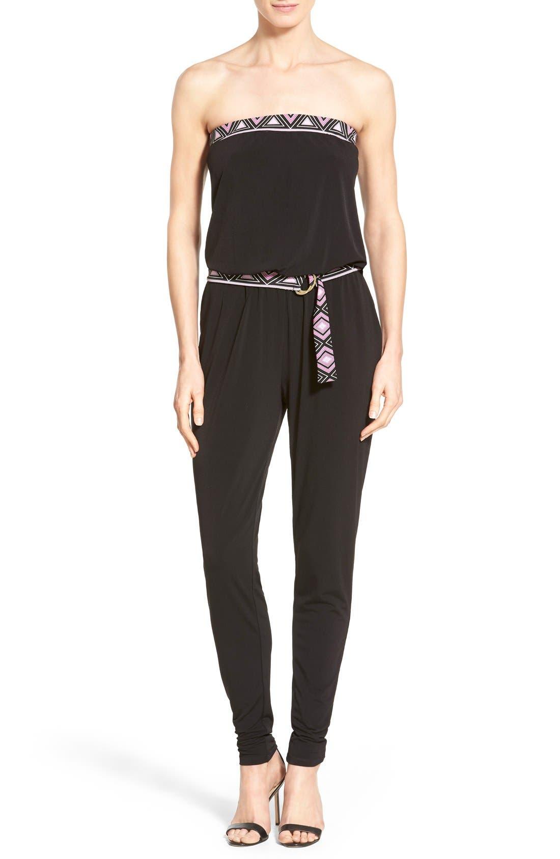 Main Image - MICHAEL Michael Kors Belted Border Print Jersey Strapless Jumpsuit
