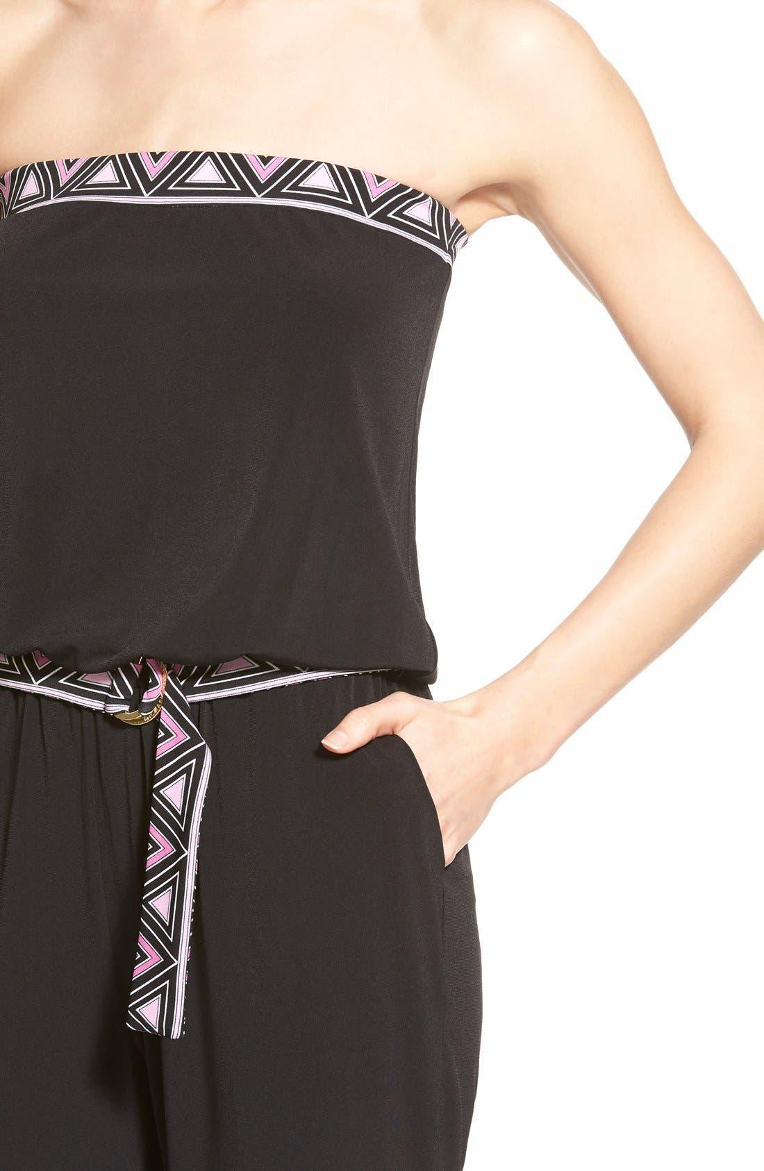 Alternate Image 4  - MICHAEL Michael Kors Belted Border Print Jersey Strapless Jumpsuit