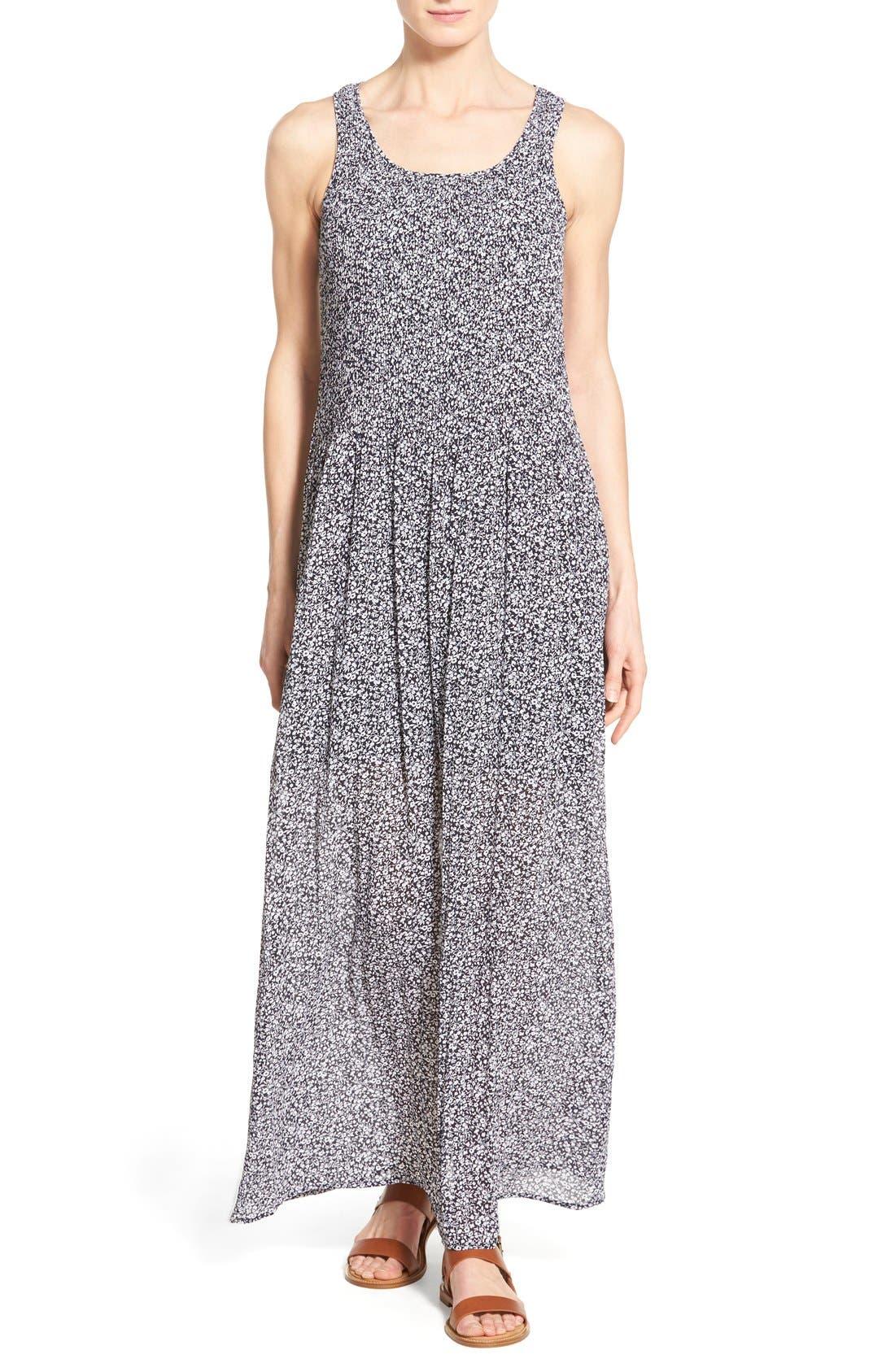 Main Image - MICHAEL Michael Kors 'Liona' Print Pintuck A-Line Maxi Dress