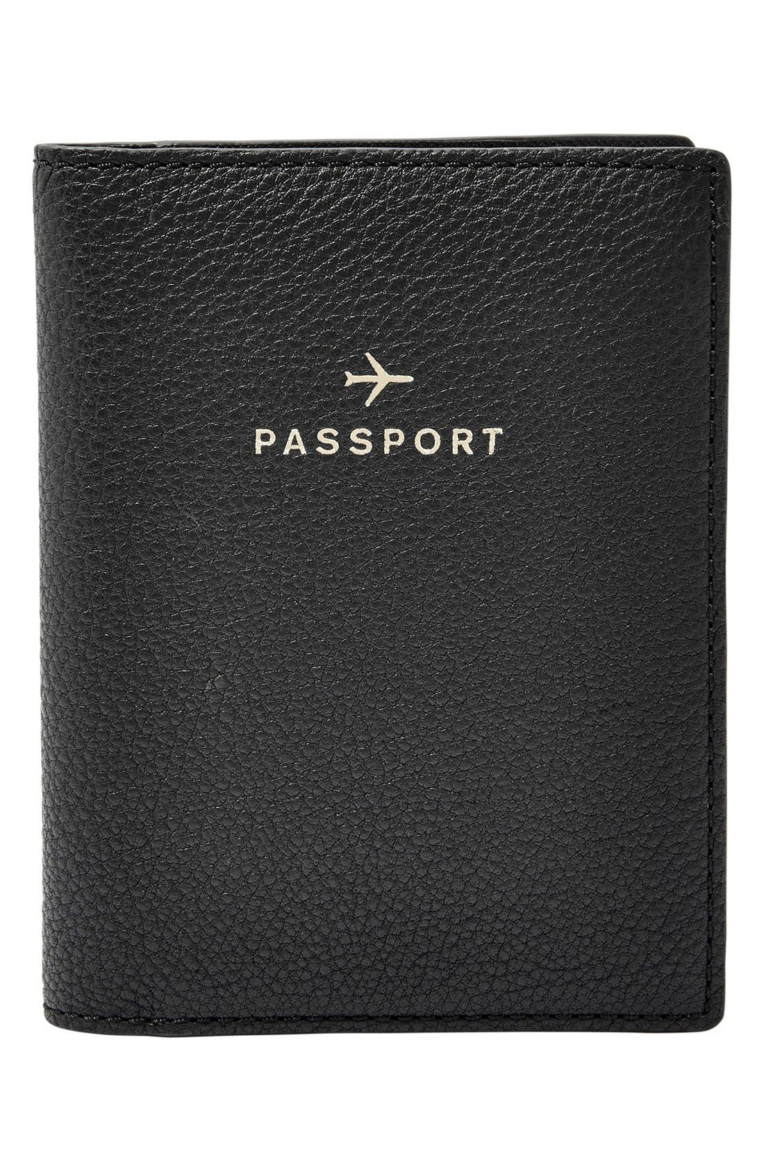 Main Image - Fossil 'RFID' Pebbled Leather Passport Case