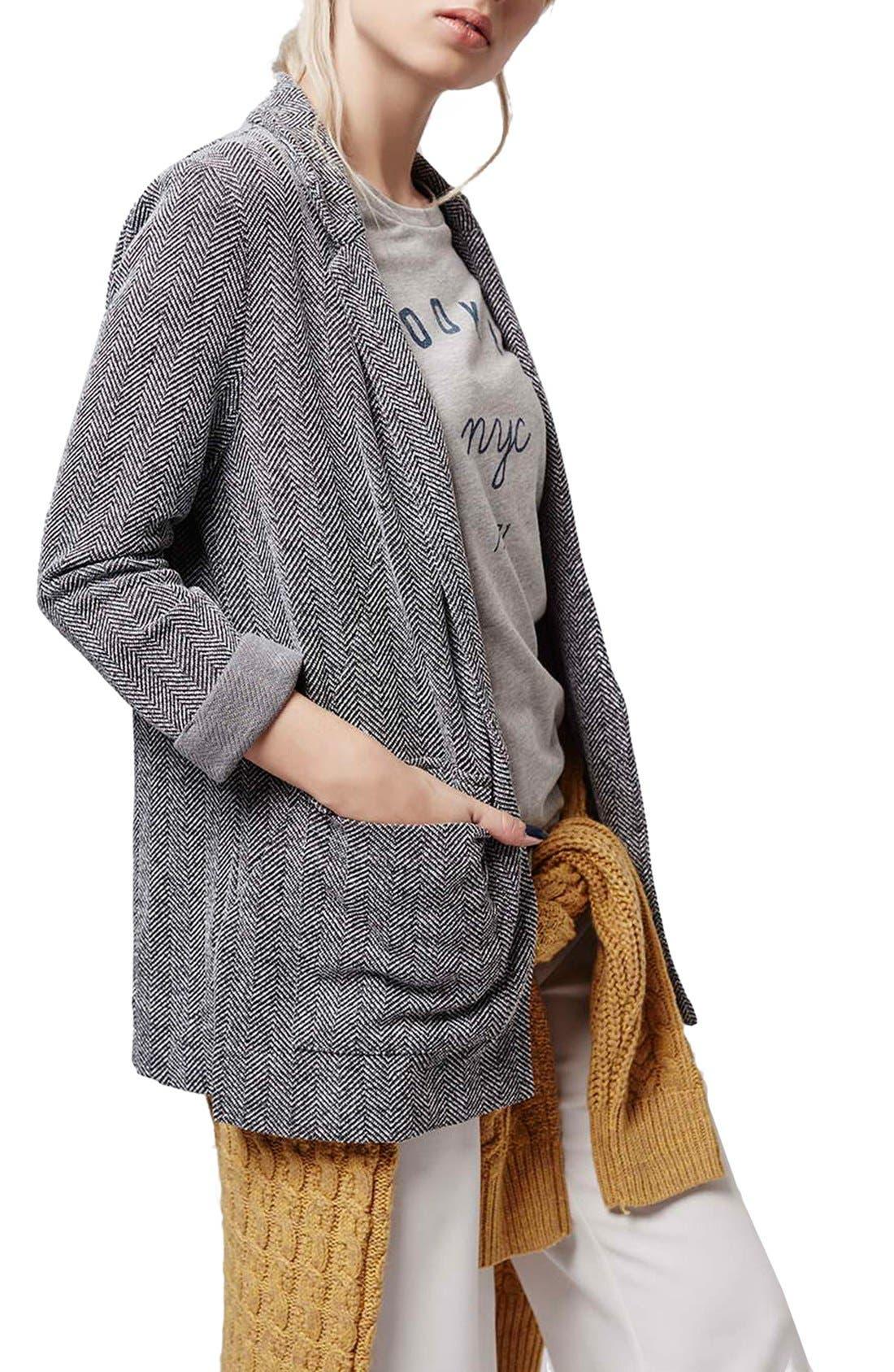 Alternate Image 1 Selected - Topshop Herringbone Boyfriend Jacket (Petite)