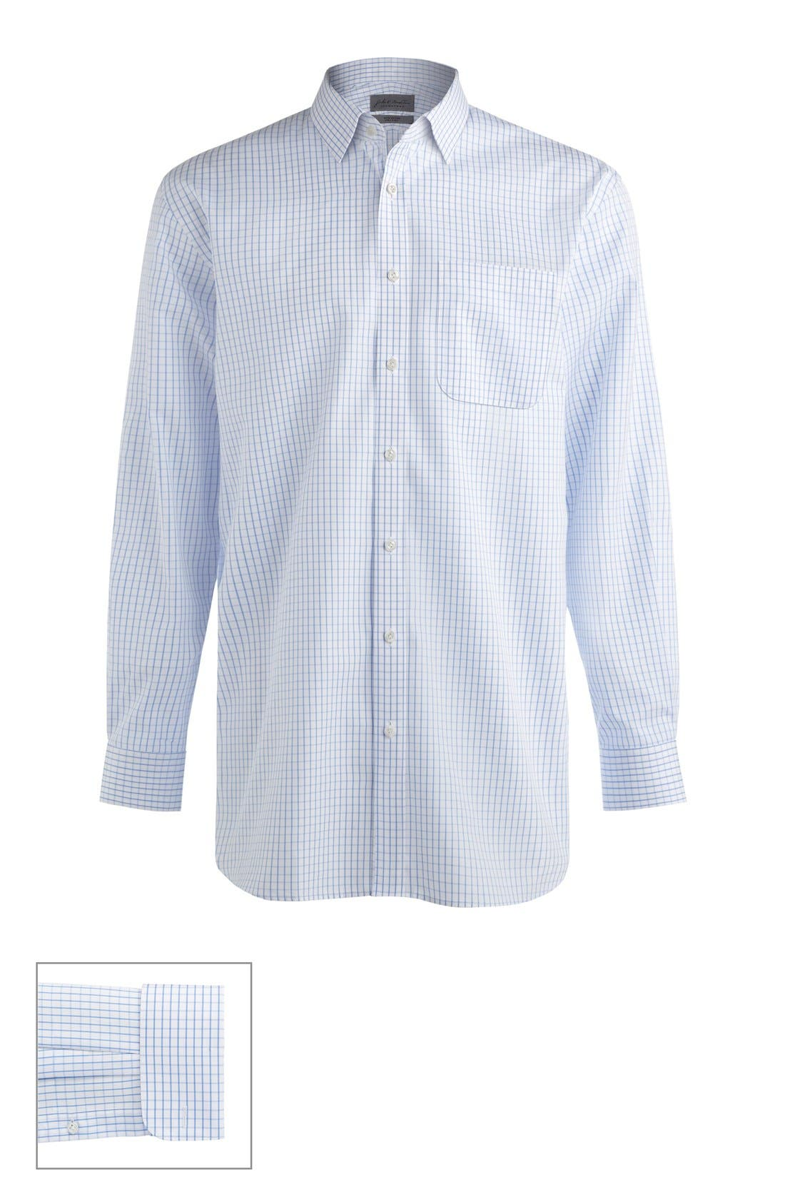 John W. Nordstrom® Made to Measure Classic Fit Straight Collar Dobby Plaid Dress Shirt