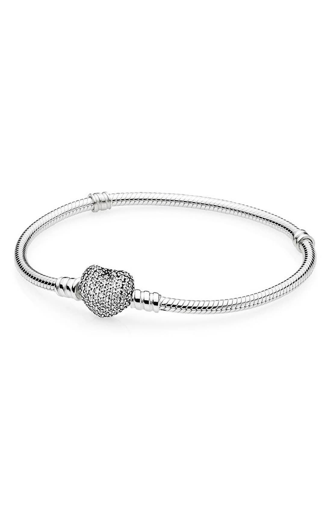 Main Image - PANDORA Pavé Heart Sterling Silver Charm Bracelet