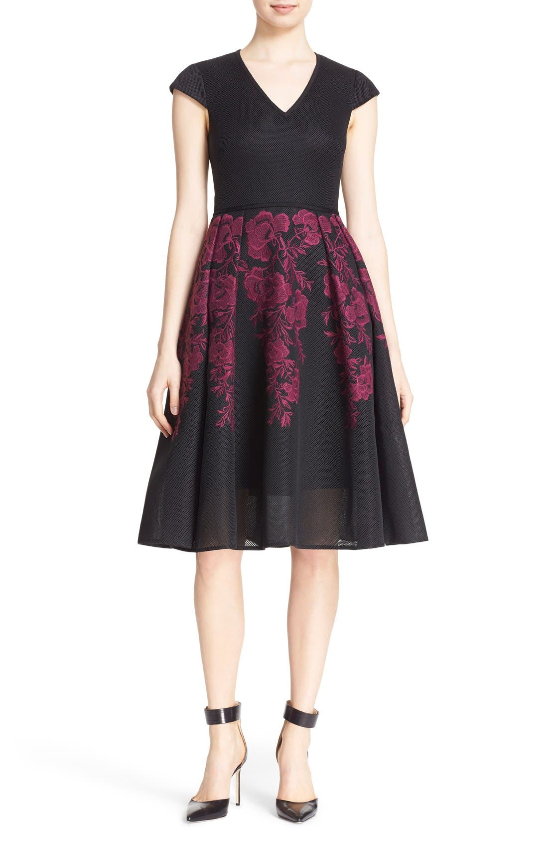 Main Image - Ted Baker London 'Levana' Lace Appliqué Mesh Fit & Flare Dress