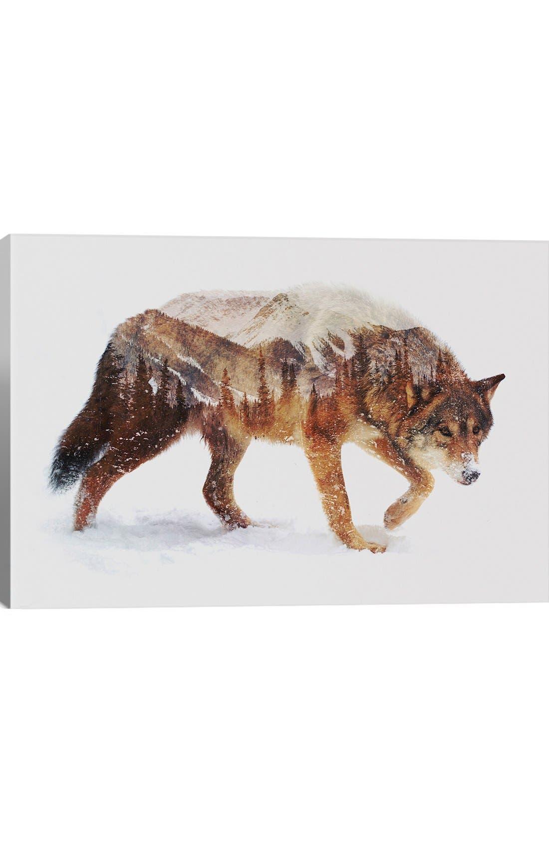 Main Image - iCanvas 'Arctic Wolf' Leather Art Print