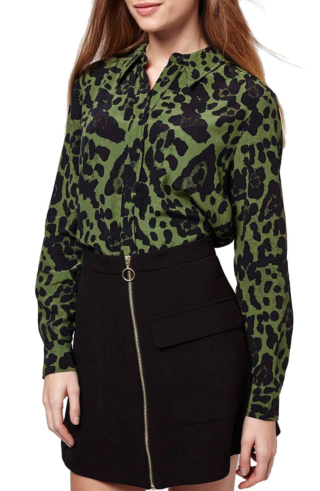 Alternate Image 1 Selected - Topshop Leopard Print Button Front Shirt