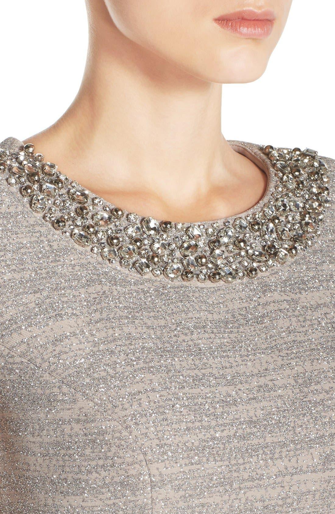 Alternate Image 4  - Eliza J Embellished Sparkle Knit Sheath Dress (Regular & Petite)