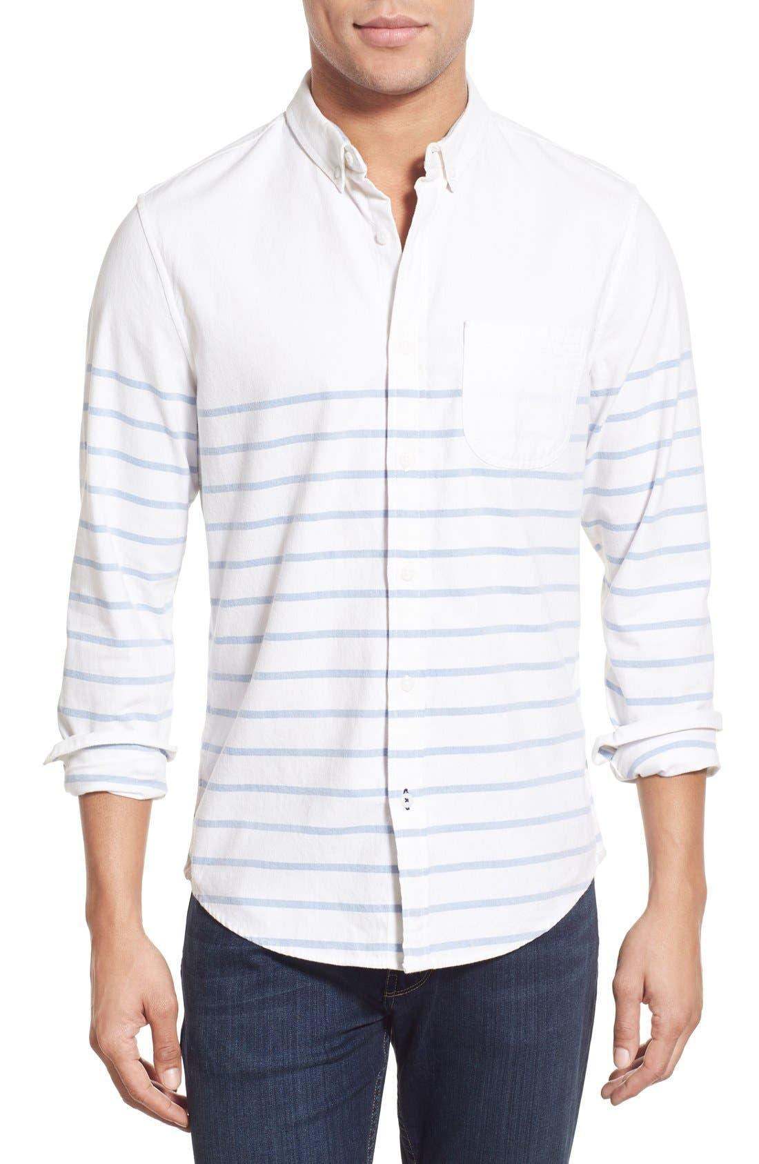 Main Image - 1901 'La Conner' Trim Fit Stripe Print Woven Shirt