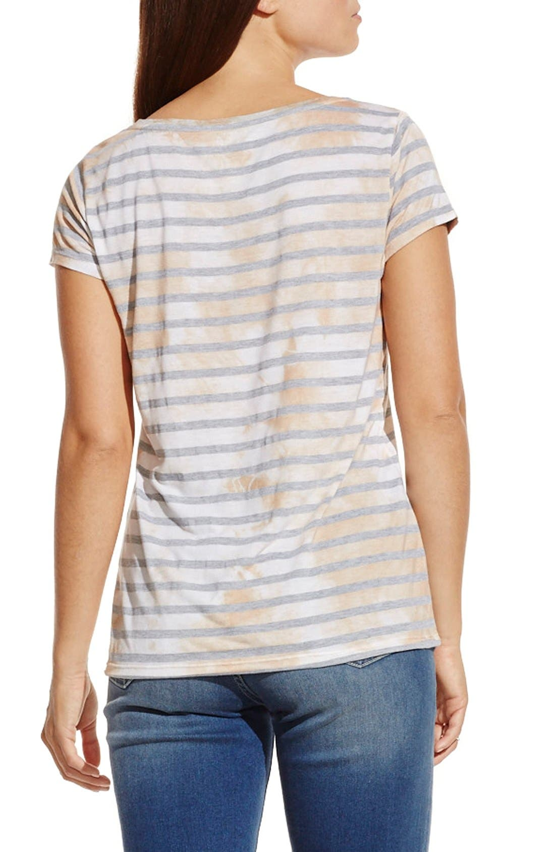 Alternate Image 2  - Two by Vince Camuto 'Painterly Blotches' Stripe Tee