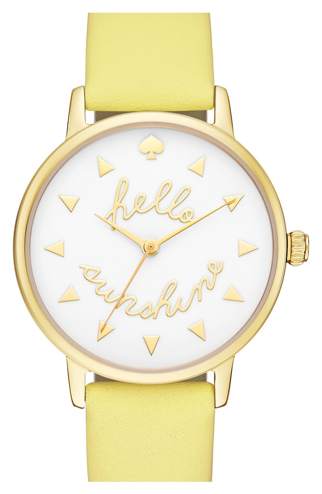 Main Image - kate spade new york 'metro - sunshine' leather strap watch, 34mm