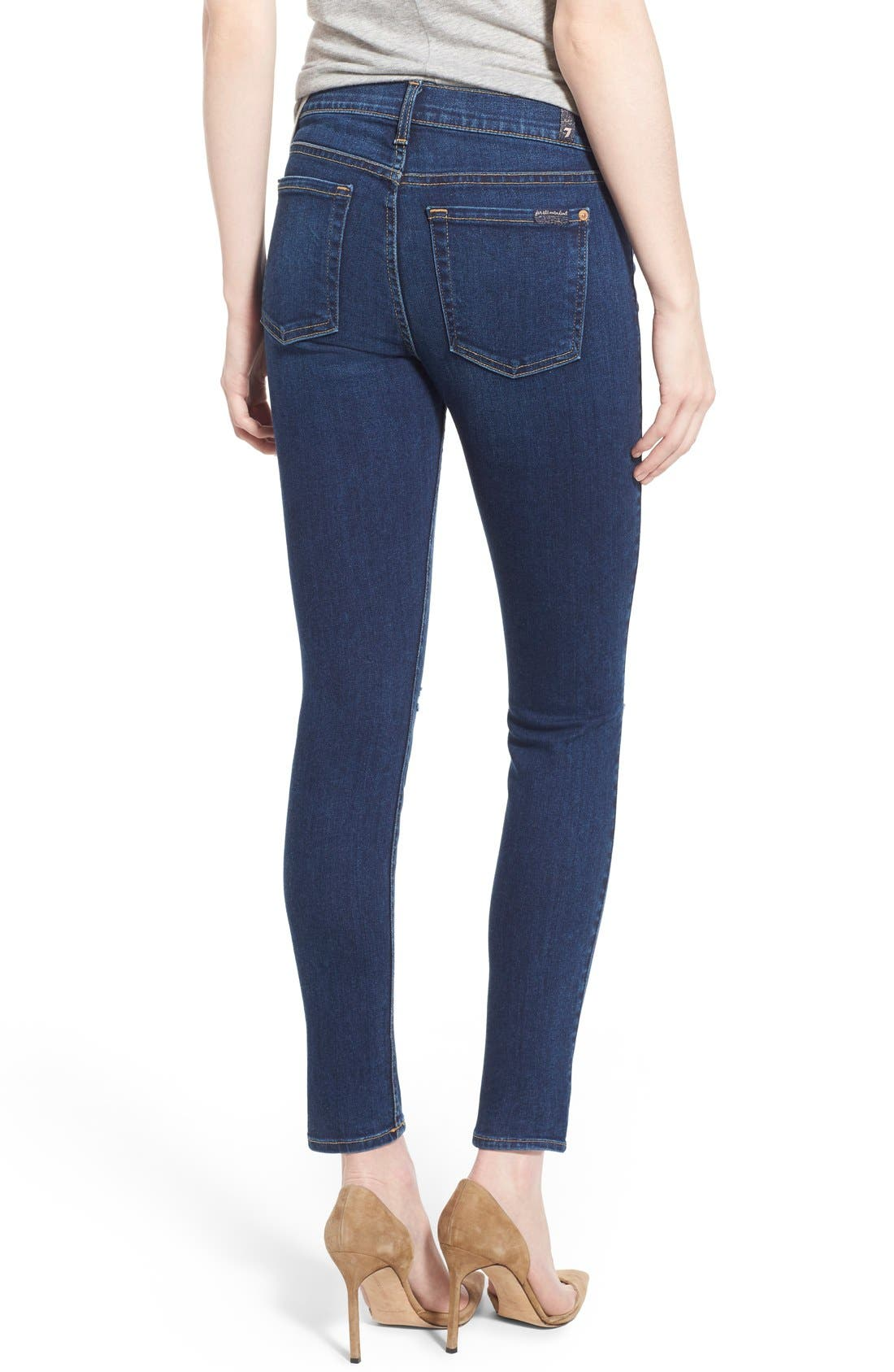 Alternate Image 2  - 7 For All Mankind® Destroyed Ankle Skinny Jeans (Stunning Seville 2)