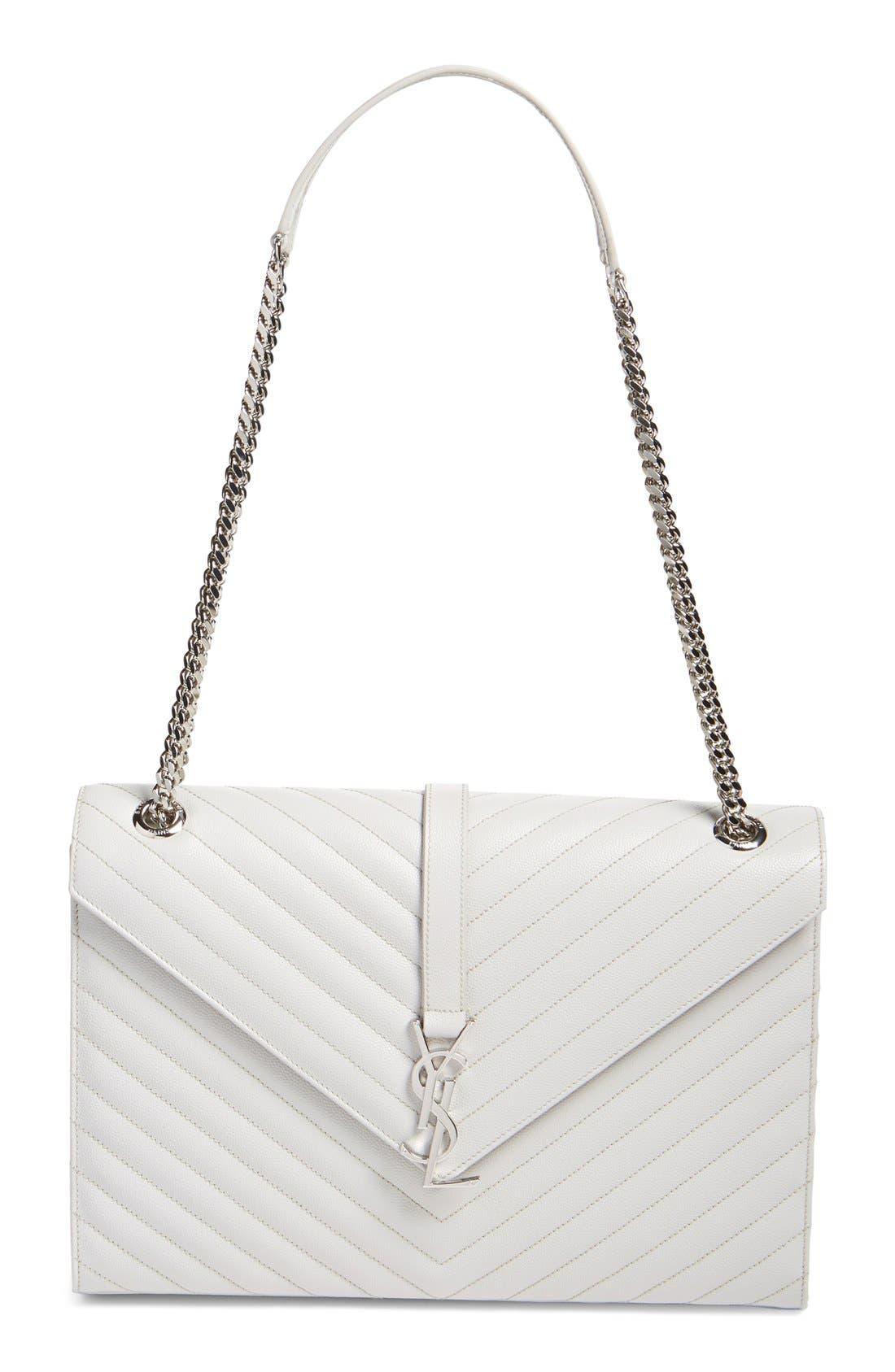 Main Image - Saint Laurent 'Monogram' Chevron Quilted Leather Shoulder Bag