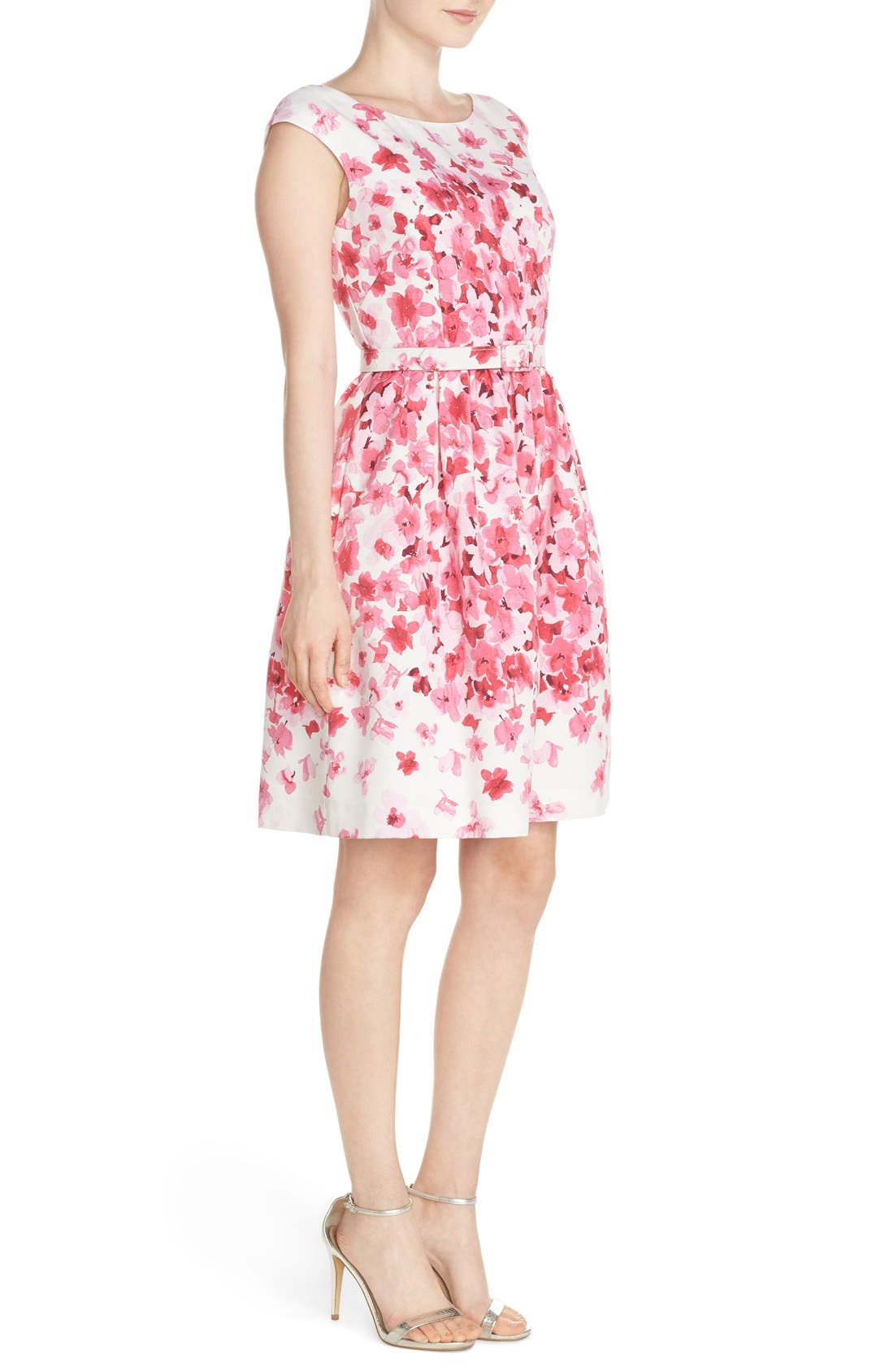 Alternate Image 3  - Eliza J Belted Floral Faille Fit & Flare Dress