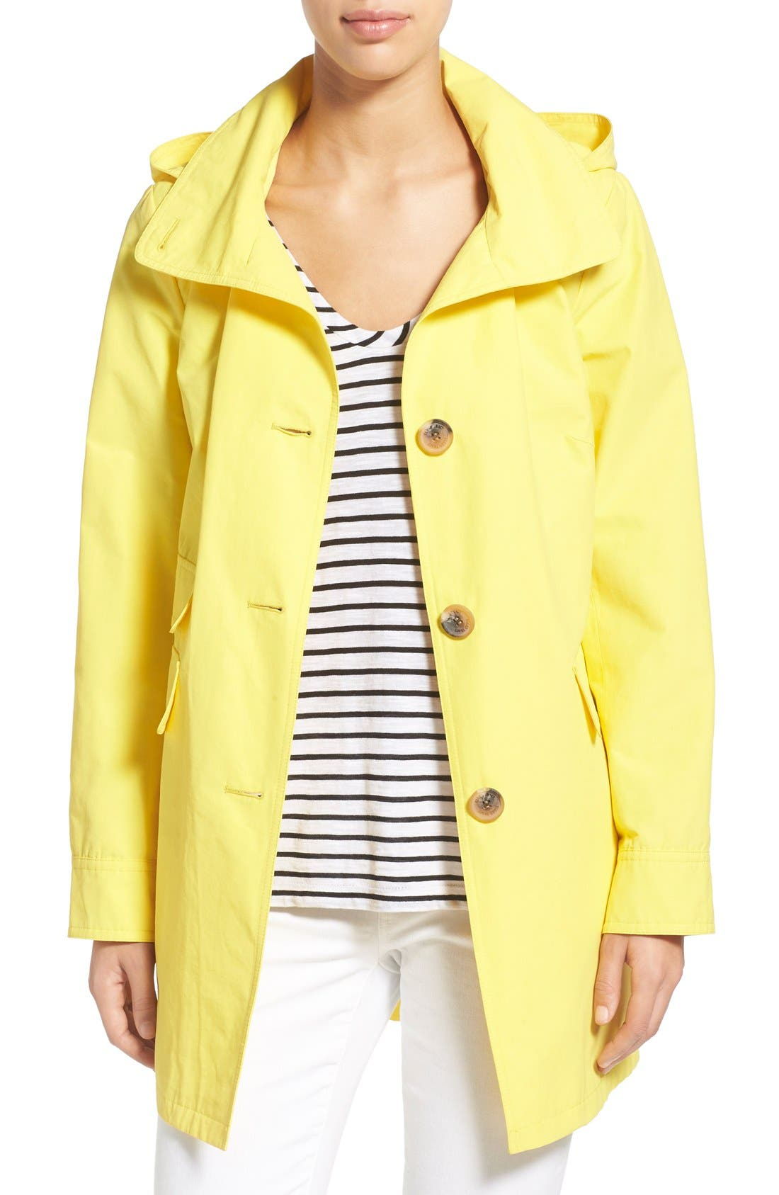 Ellen Tracy A-Line Sailcloth Coat with Detachable Hood