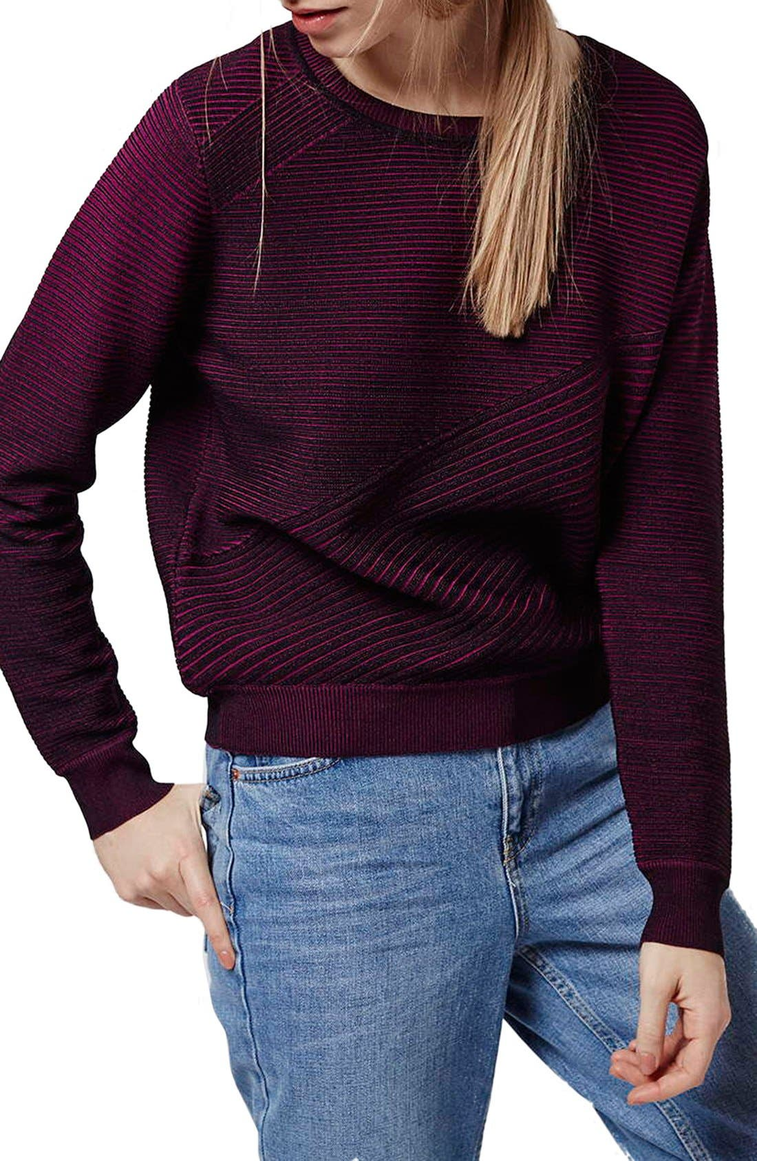 Alternate Image 1 Selected - Topshop Ribbed Sweater with Elbow Patches
