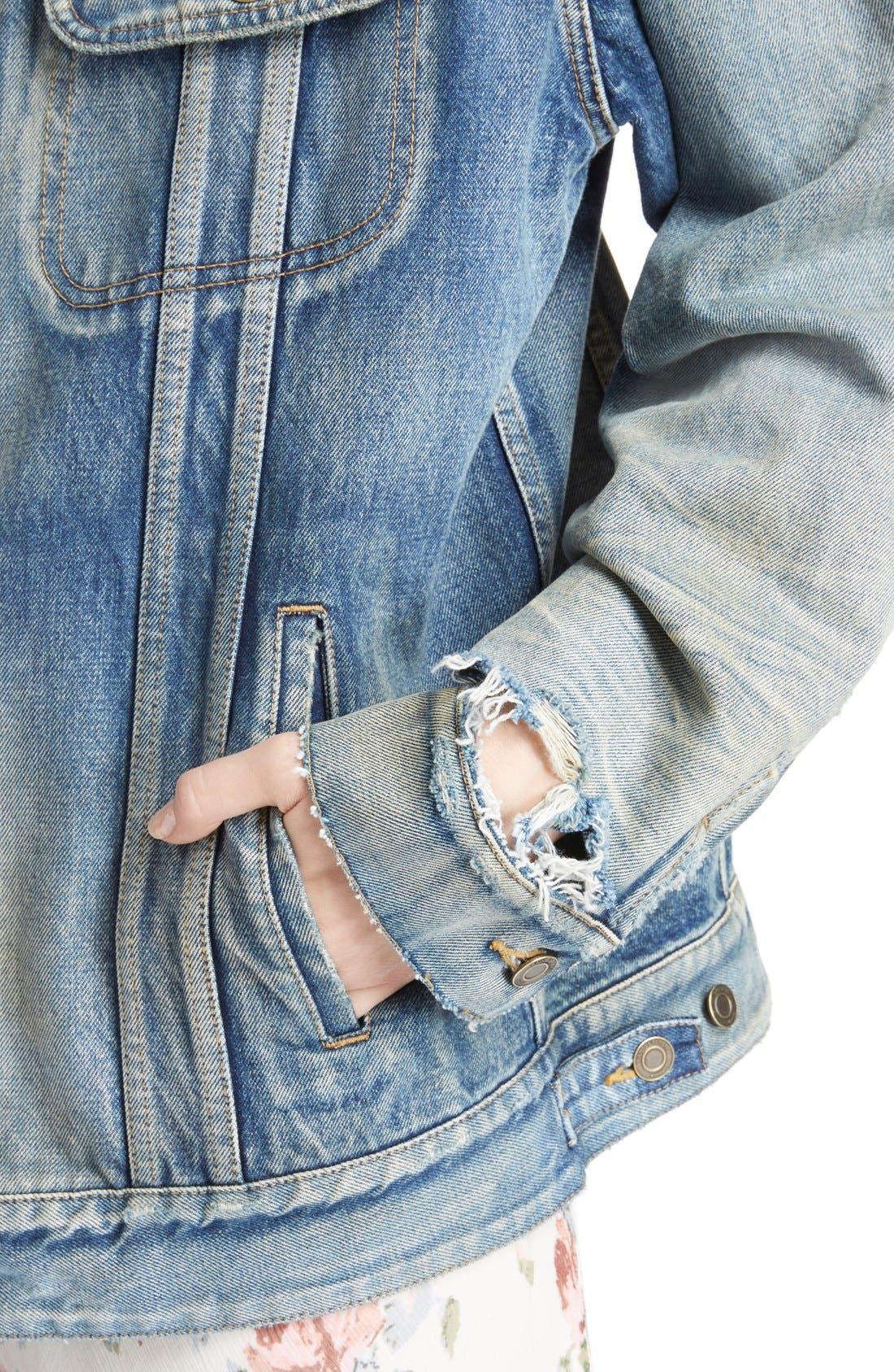 Alternate Image 6  - Saint Laurent Oversize Vintage Wash Denim Jacket
