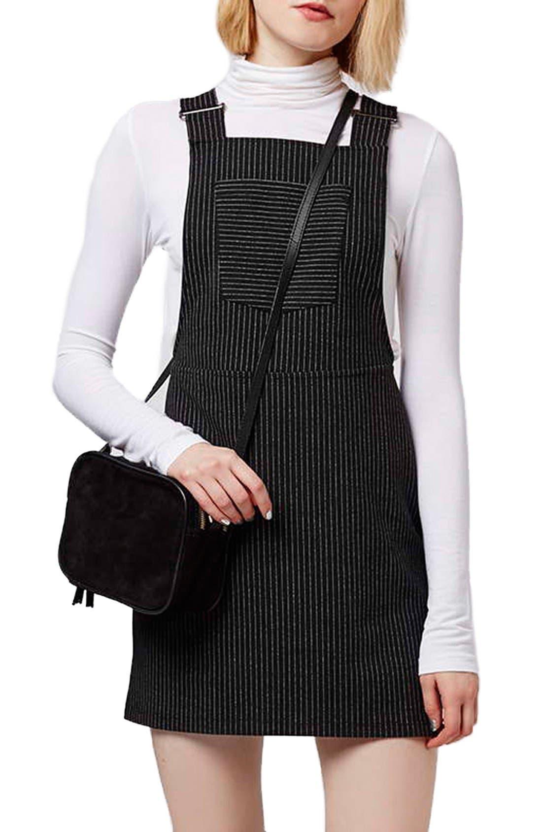 Alternate Image 1 Selected - Topshop Pinstripe Pinafore Dress