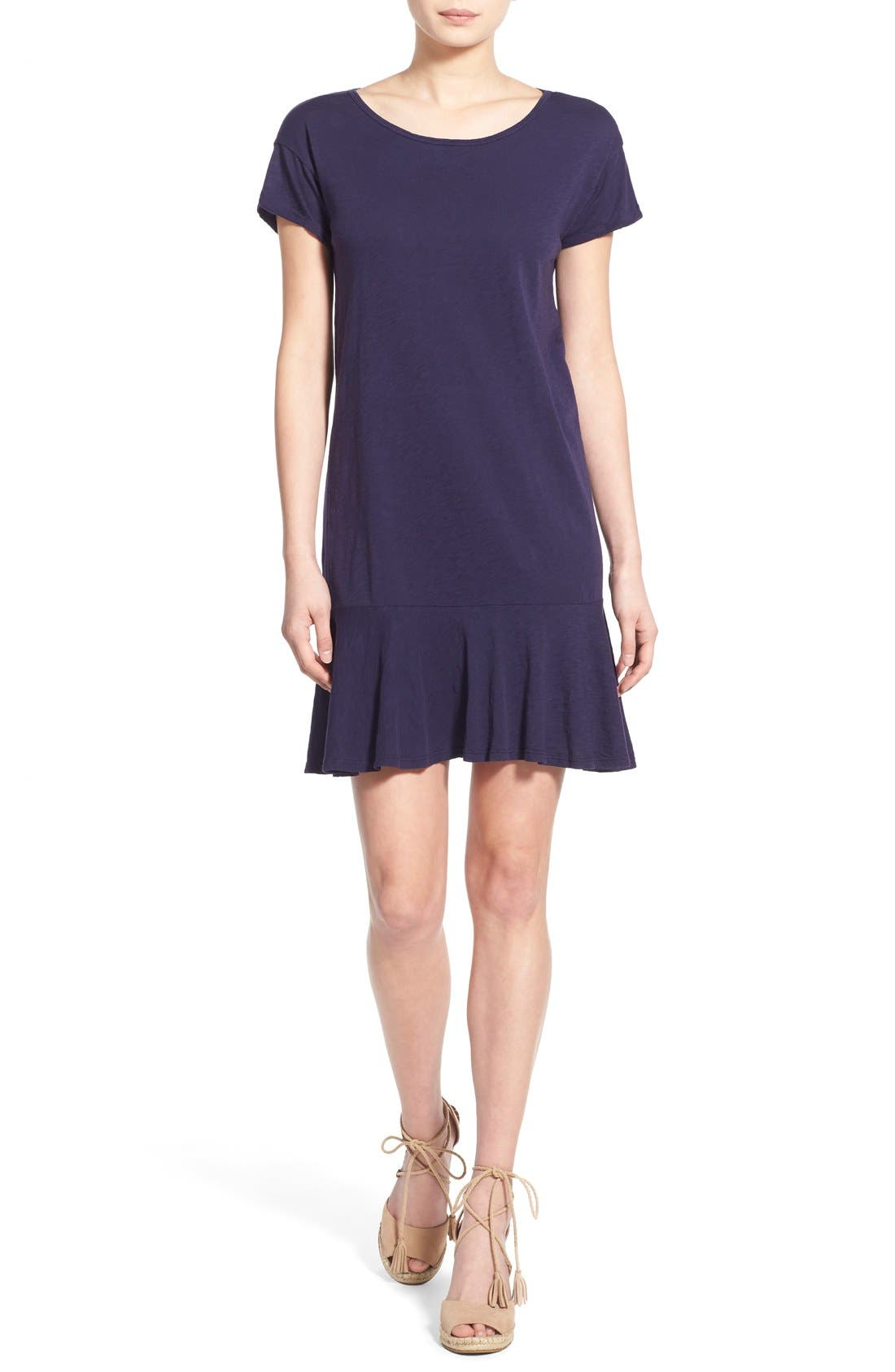 Main Image - Velvet by Graham & Spencer Ruffle Hem Cotton Tee Dress