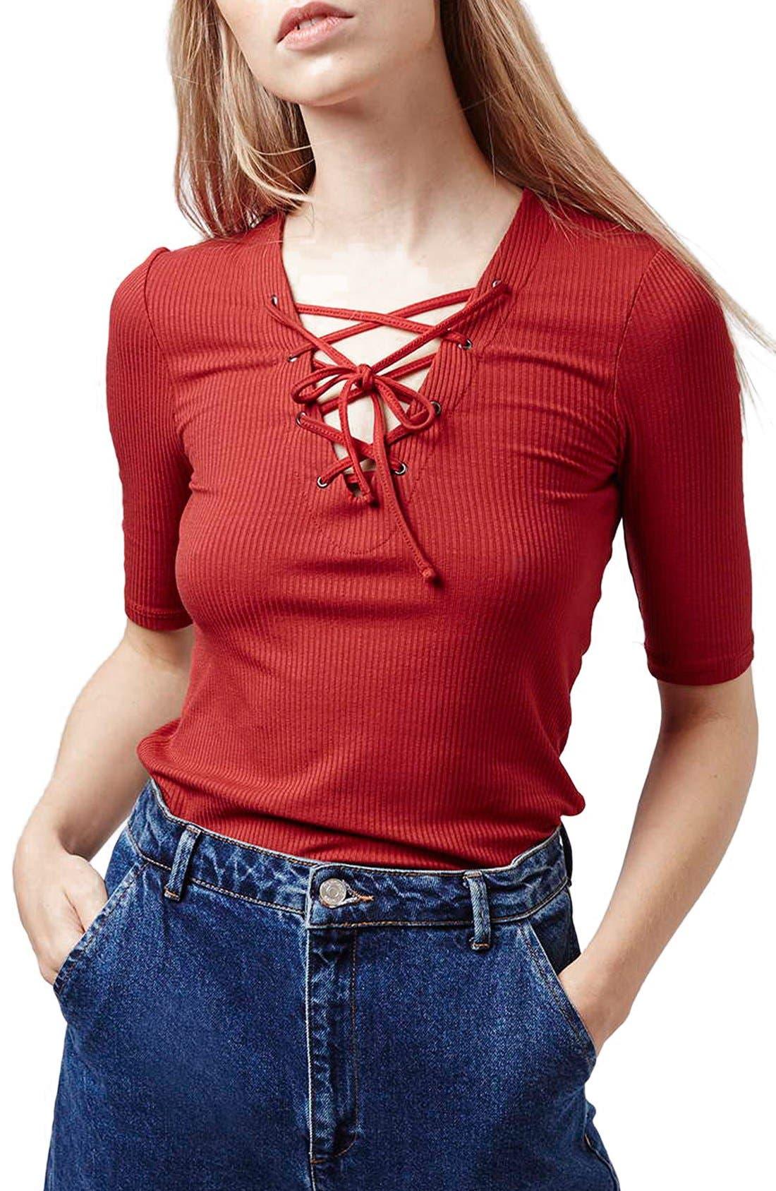 Main Image - Topshop Lace-Up Short Sleeve Crop Top