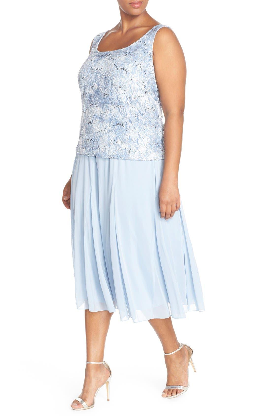 Alternate Image 3  - Alex Evenings Mesh Skirt (Plus Size)