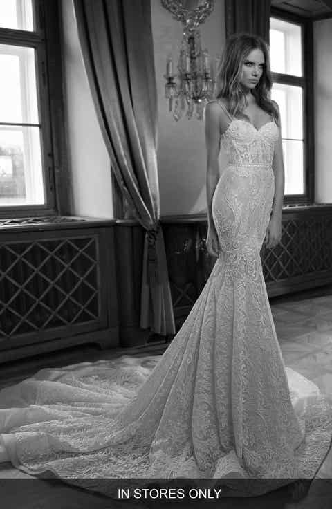 Berta Open Back Beaded Lace Corset Dress (In Stores Only)