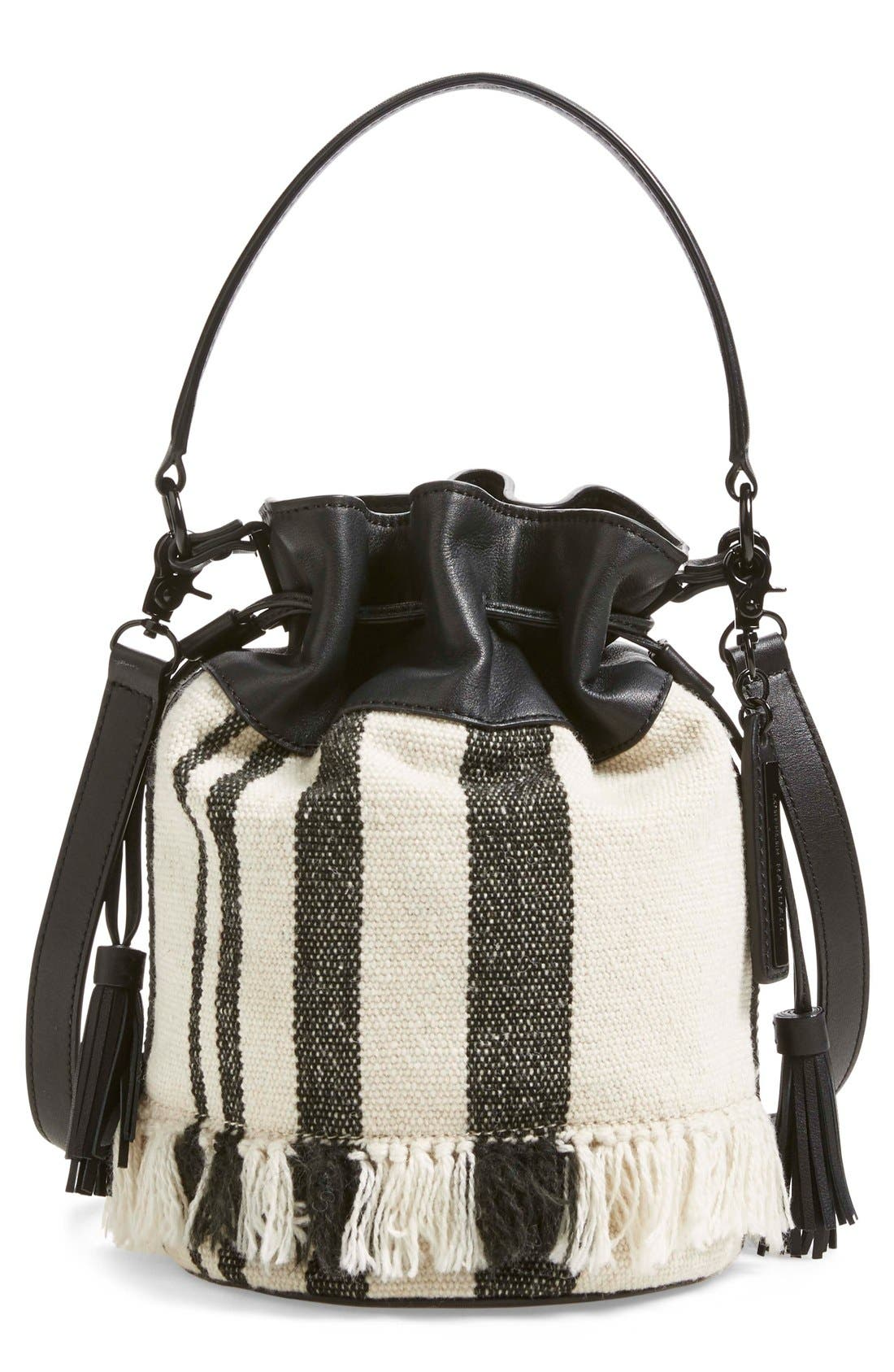 Alternate Image 1 Selected - Loeffler Randall Woven Canvas & Nappa Leather Bucket Bag