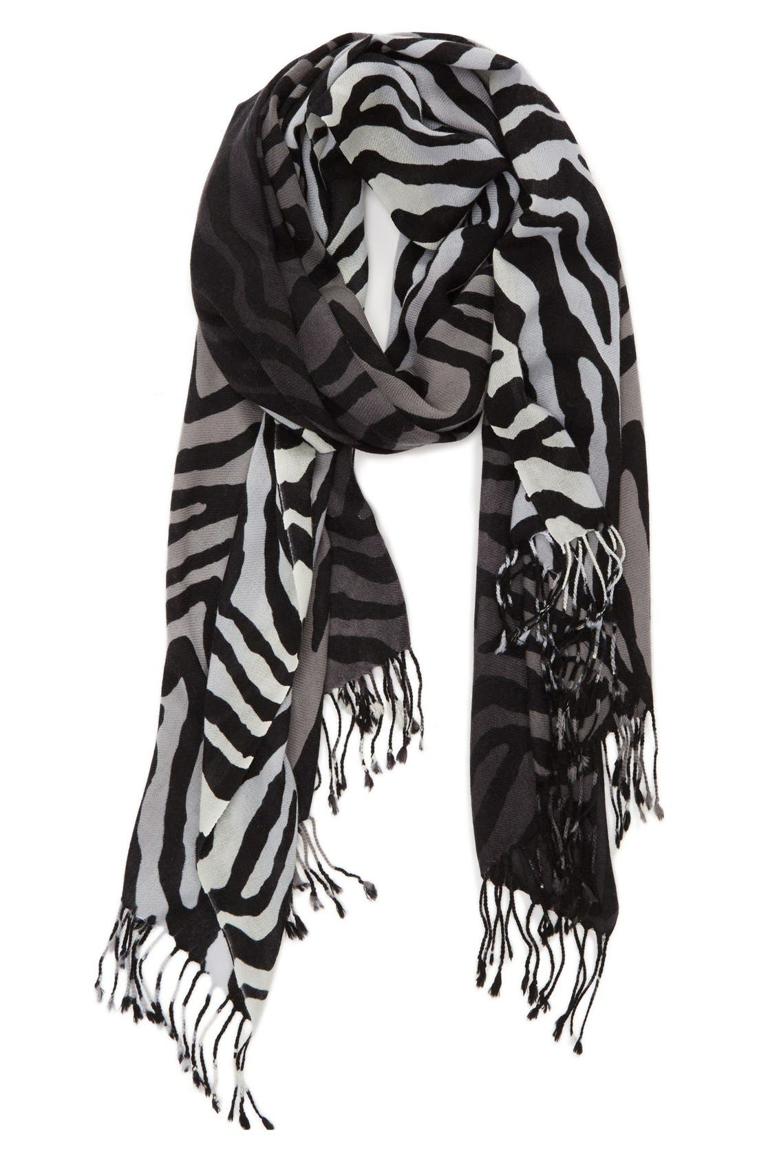 Alternate Image 1 Selected - Nordstrom Zebra Pattern Wool & Cashmere Scarf