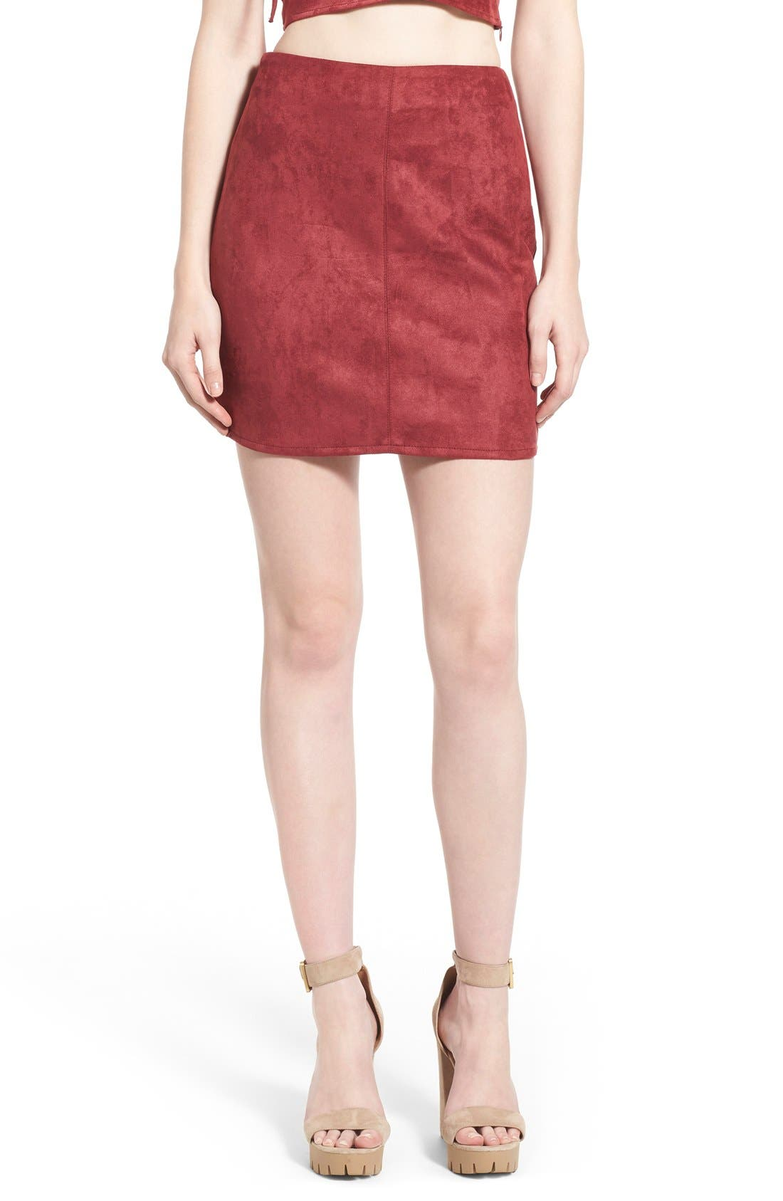 Main Image - Missguided Faux Suede Miniskirt