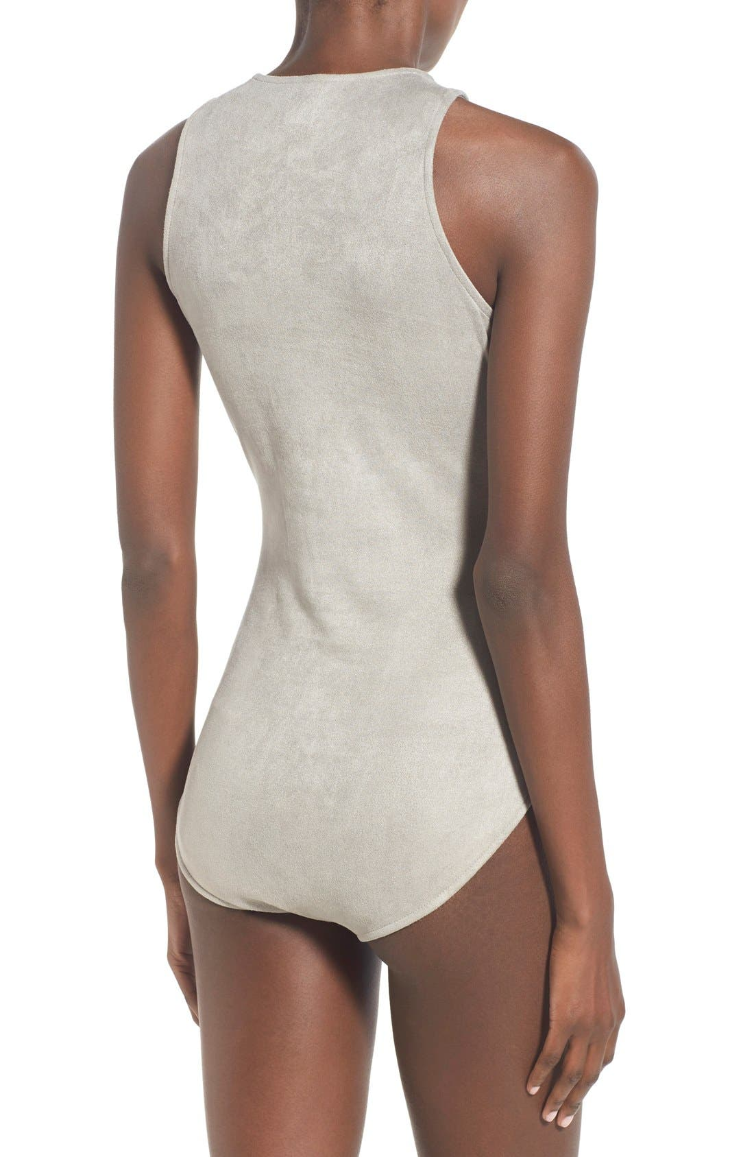 Alternate Image 3  - Glamorous Lace-Up Faux Suede Bodysuit