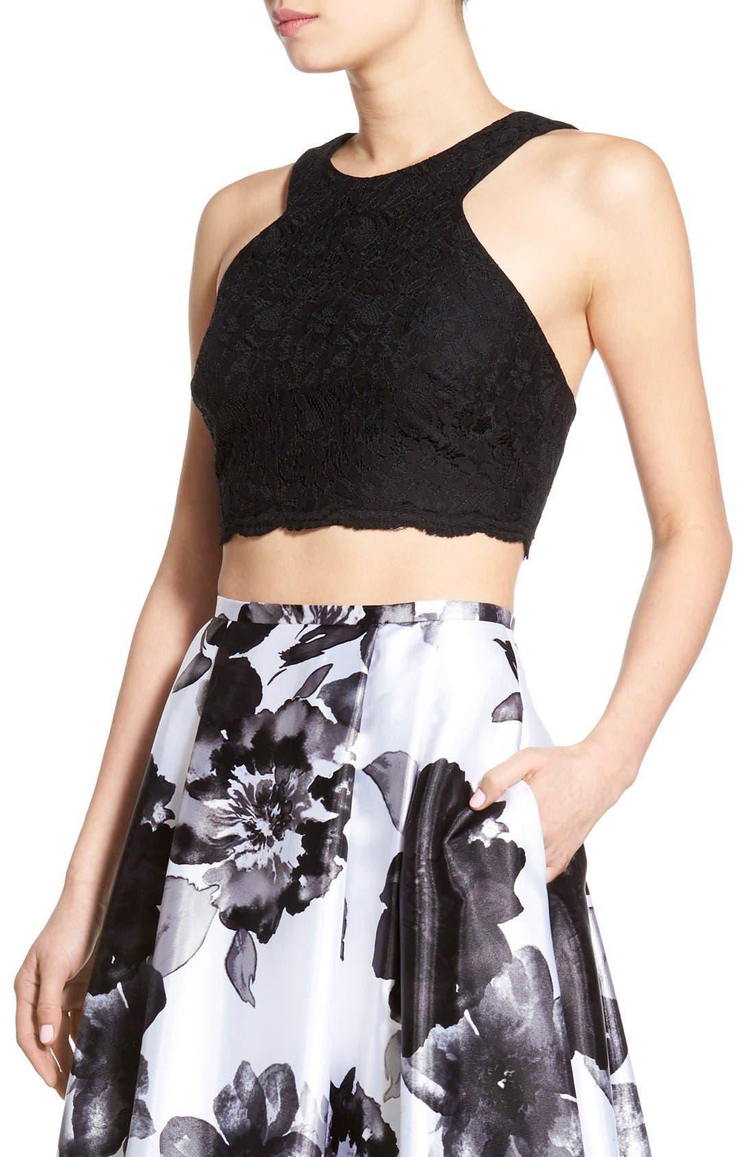 Alternate Image 4  - Blondie Nites Floral Print Two-Piece Gown