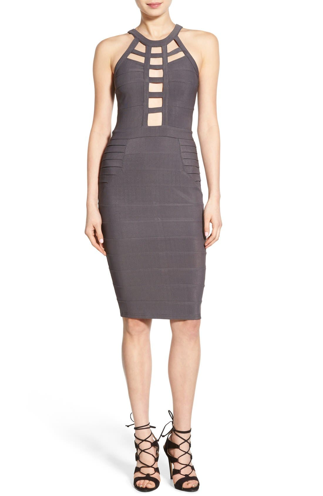 Alternate Image 1 Selected - Missguided Cutout Bandage Body-Con Dress