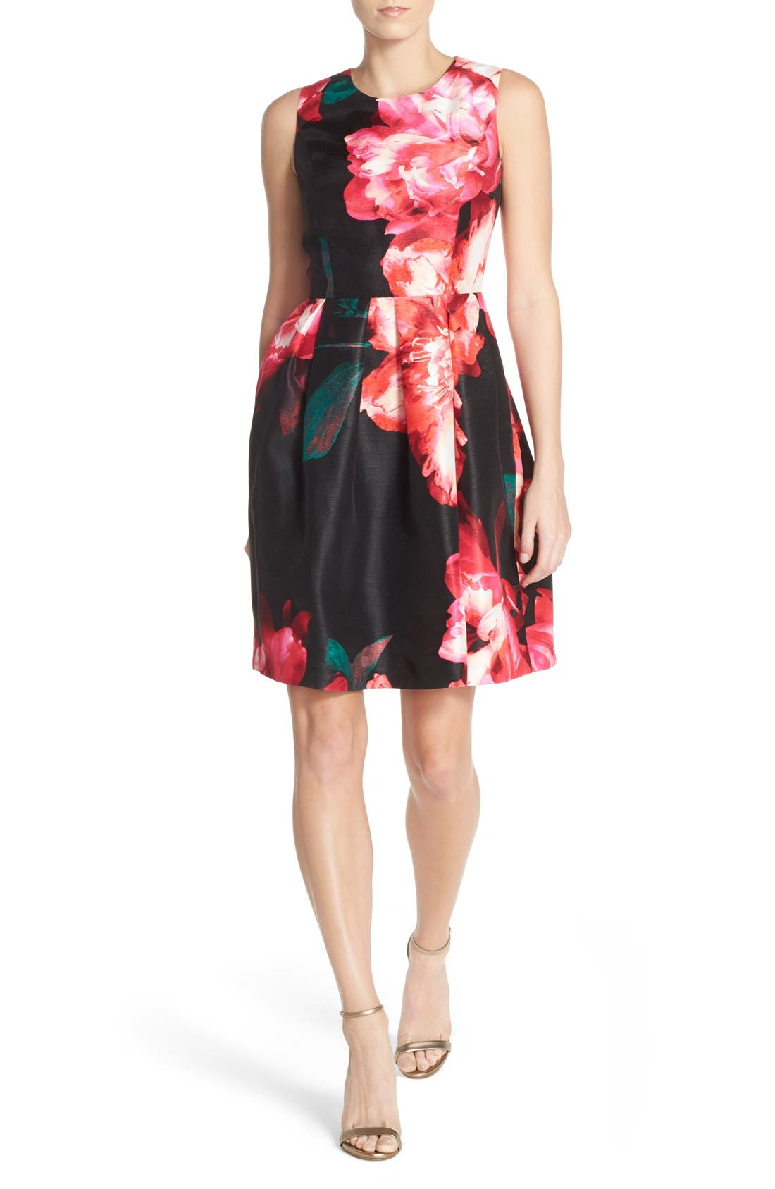 Alternate Image 4  - Donna Ricco Floral Shantung Fit & Flare Dress