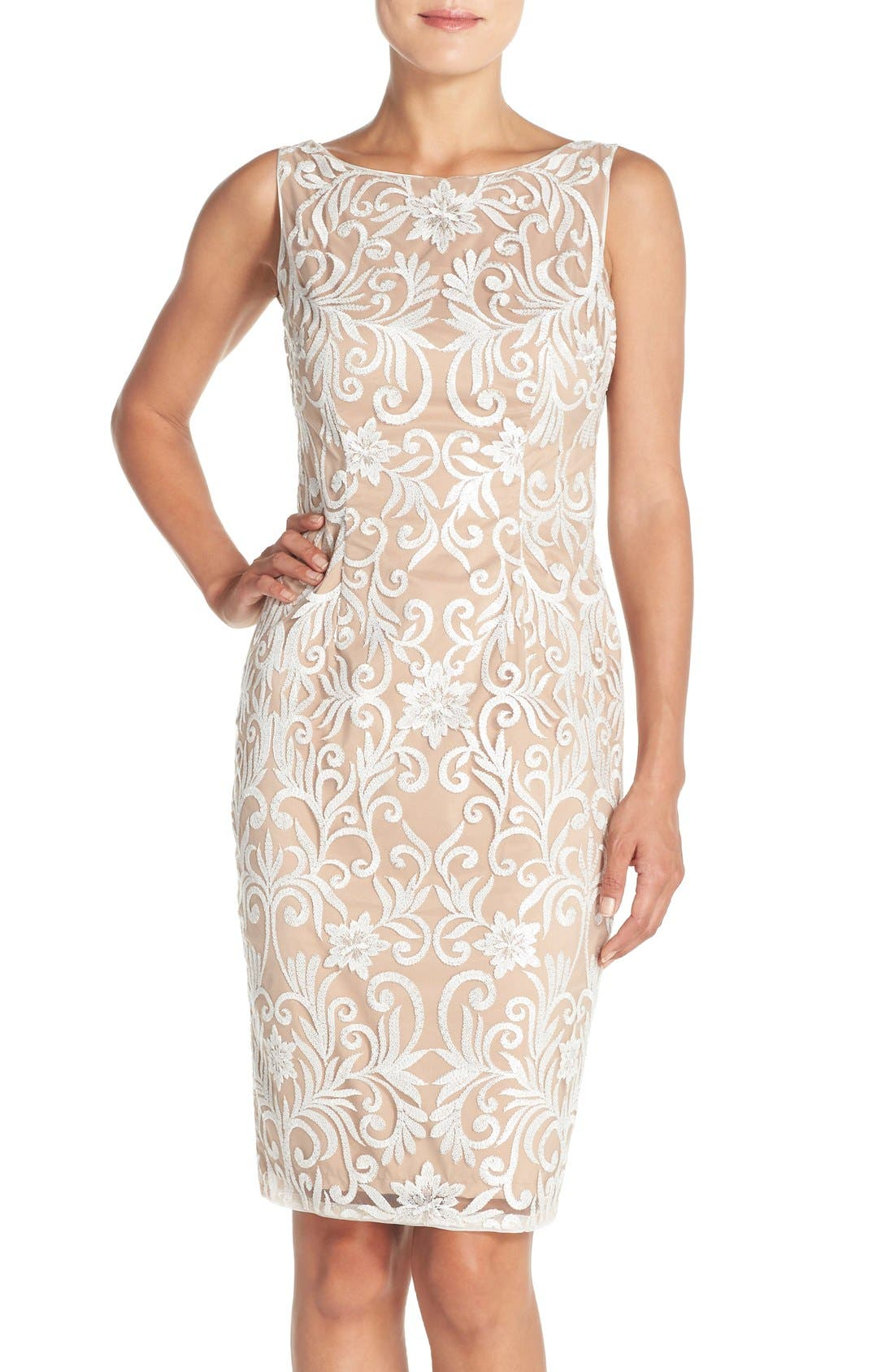 Alternate Image 1 Selected - Adrianna Papell Sequin Embroidered Bateau Neck Sheath Dress