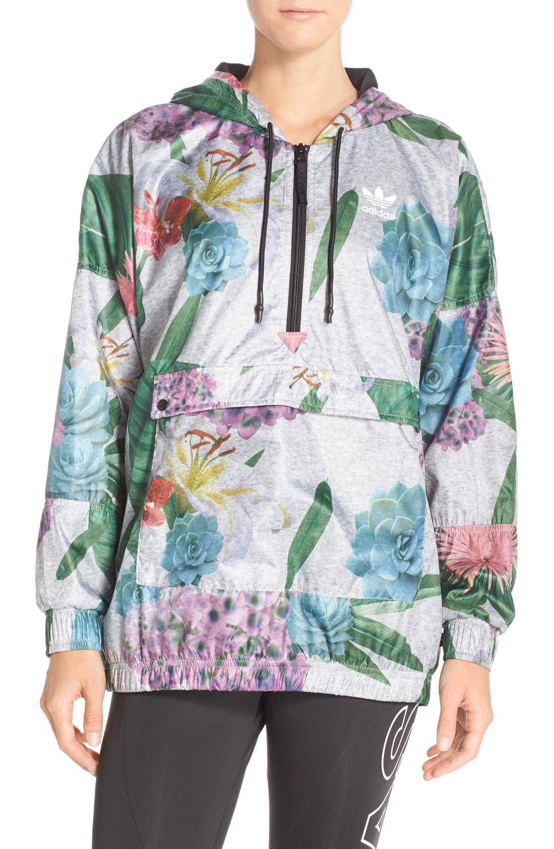 Main Image - adidas Originals 'Training' Floral Windbreaker Jacket