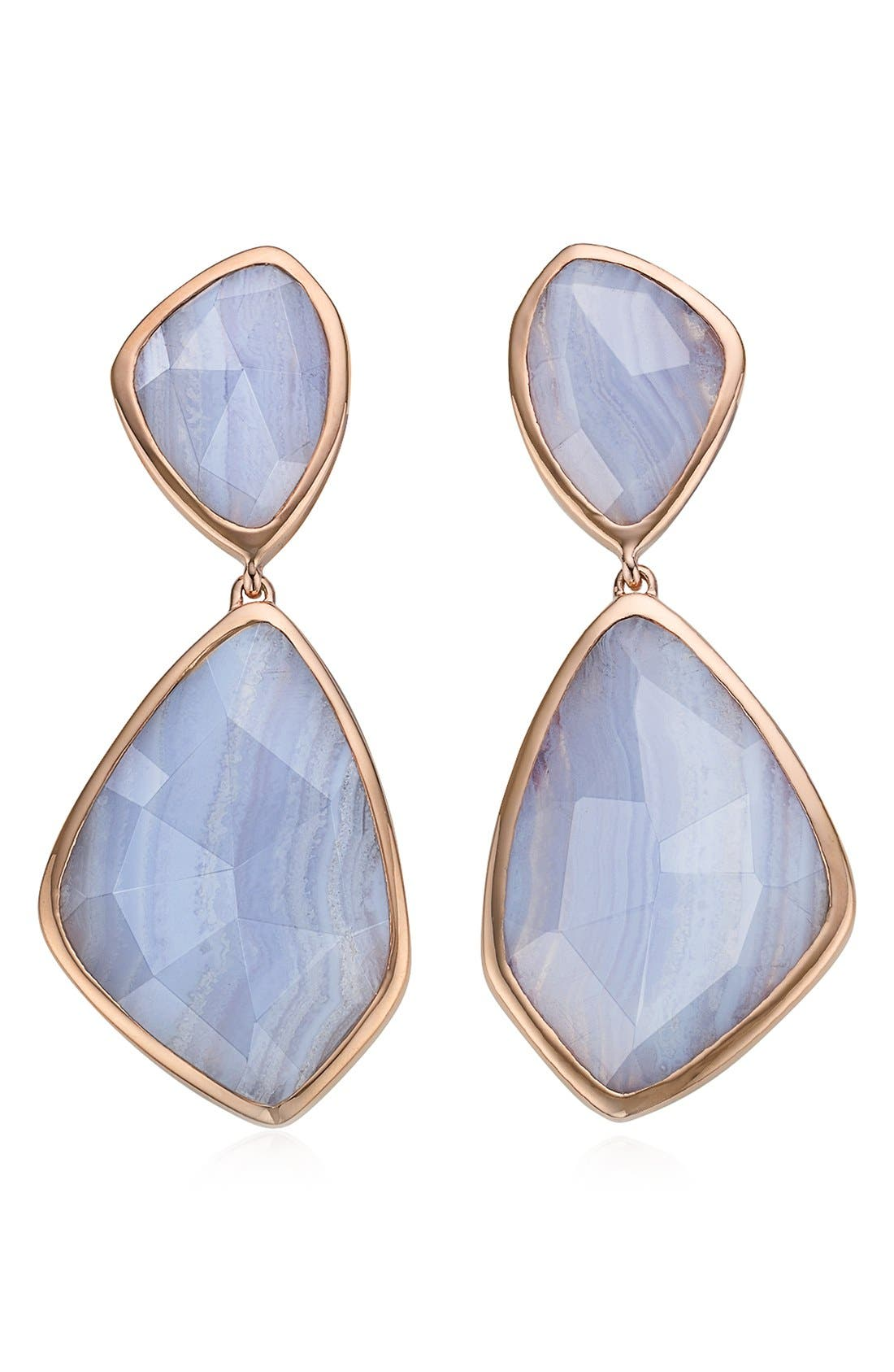 Alternate Image 1 Selected - Monica Vinader 'Siren' Semiprecious Stone Double Drop Earrings