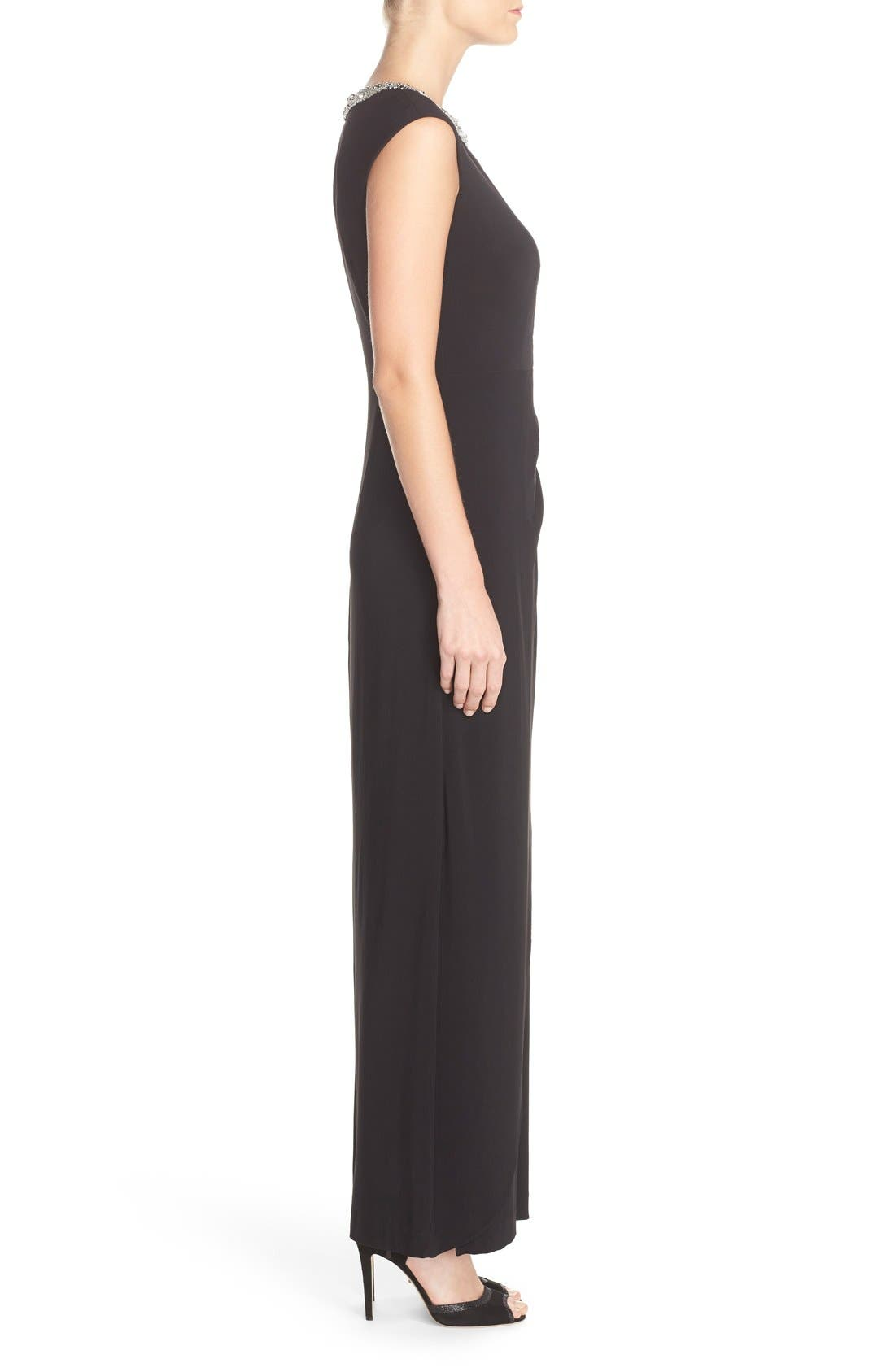 Alternate Image 3  - Alex Evenings Beaded Neck Ruched Jersey Gown (Regular & Petite)